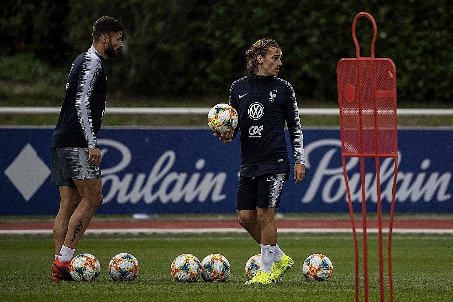 Olivier Giroud (left) and Antoine Griezmann during training at Clairefontaine-en-Yvelines in Paris.