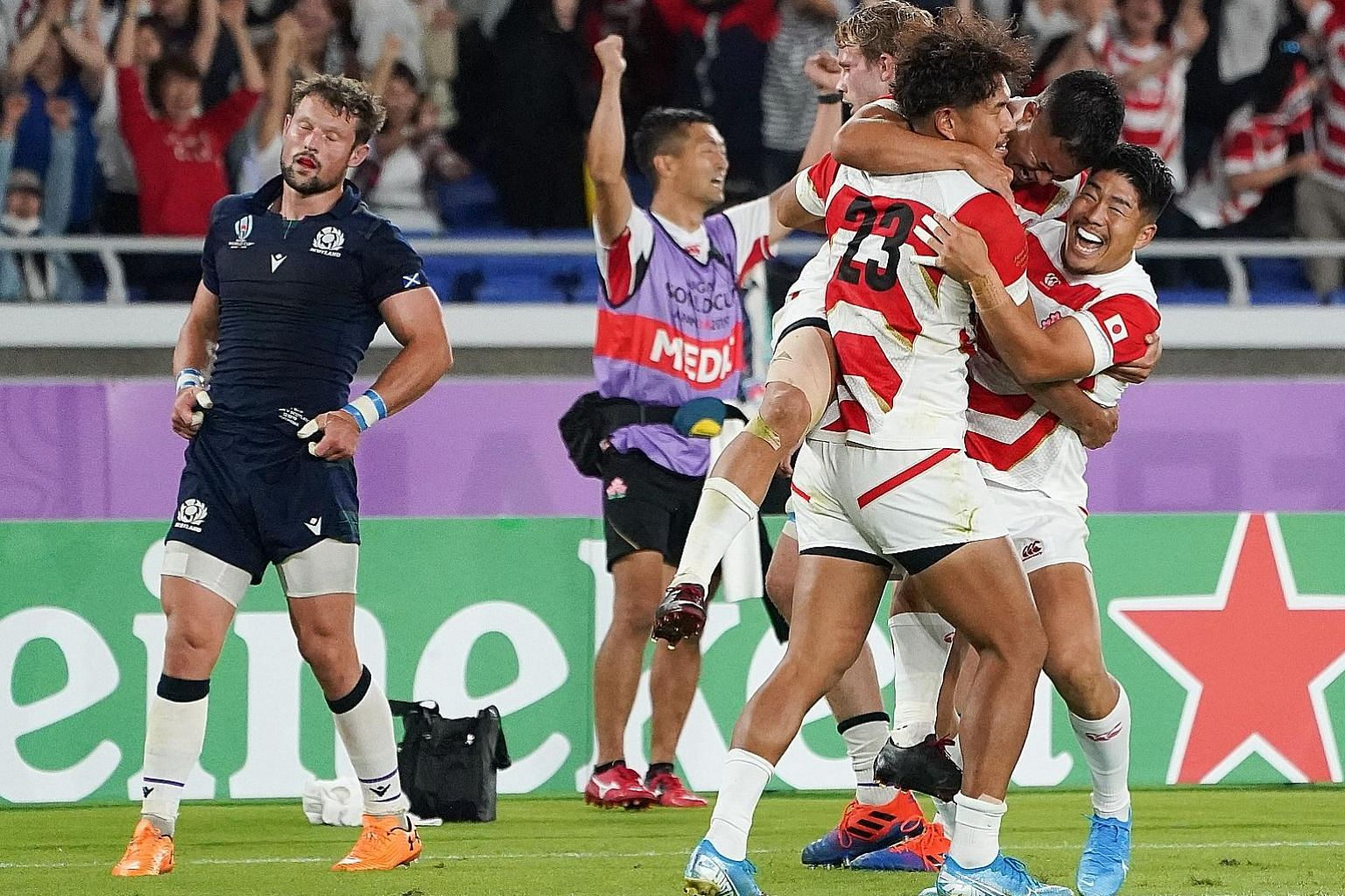 Heartwarming scenes in Yokohama last night after Japan fended off a late fightback by Scotland to win their Rugby World Cup match 28-21 to top Pool A. On current form, they have every chance of repeating their shock victory over the Springboks four y