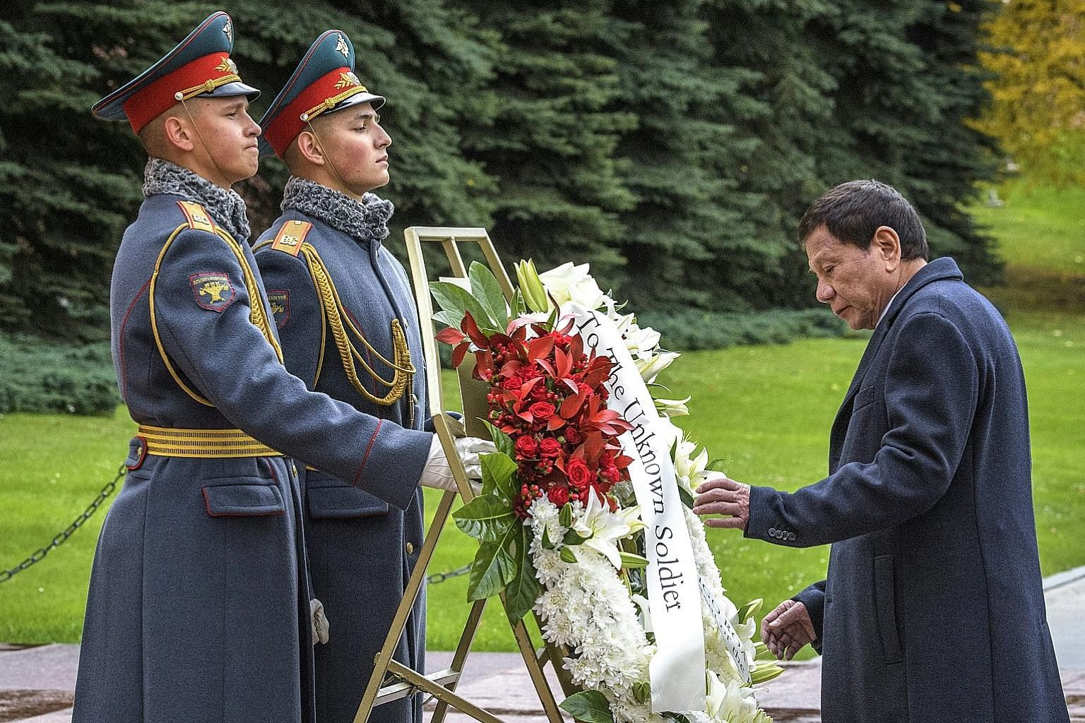 Philippine President Rodrigo Duterte at a wreath-laying ceremony at the Tomb of the Unknown Soldier in Moscow on Oct 4. During his five-day trip to Russia earlier this month, Mr Duterte noted in a speech in Sochi that the Philippines' Russia policy i