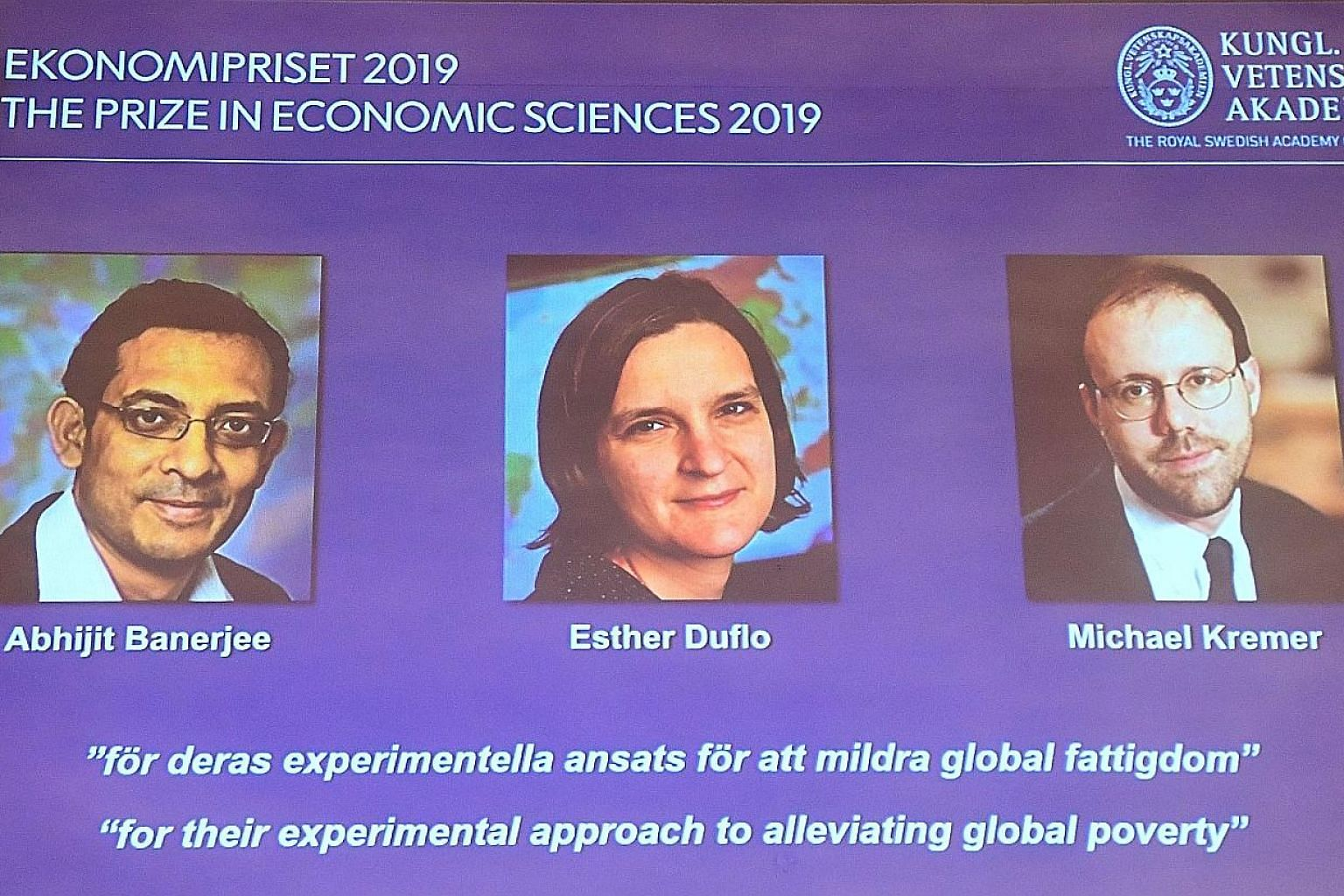 From top: The husband and wife team of Abhijit Banerjee and Esther Duflo from the Massachusetts Institute of Technology, share the Nobel Prize for Economics with Professor Michael Kremer of Harvard University.