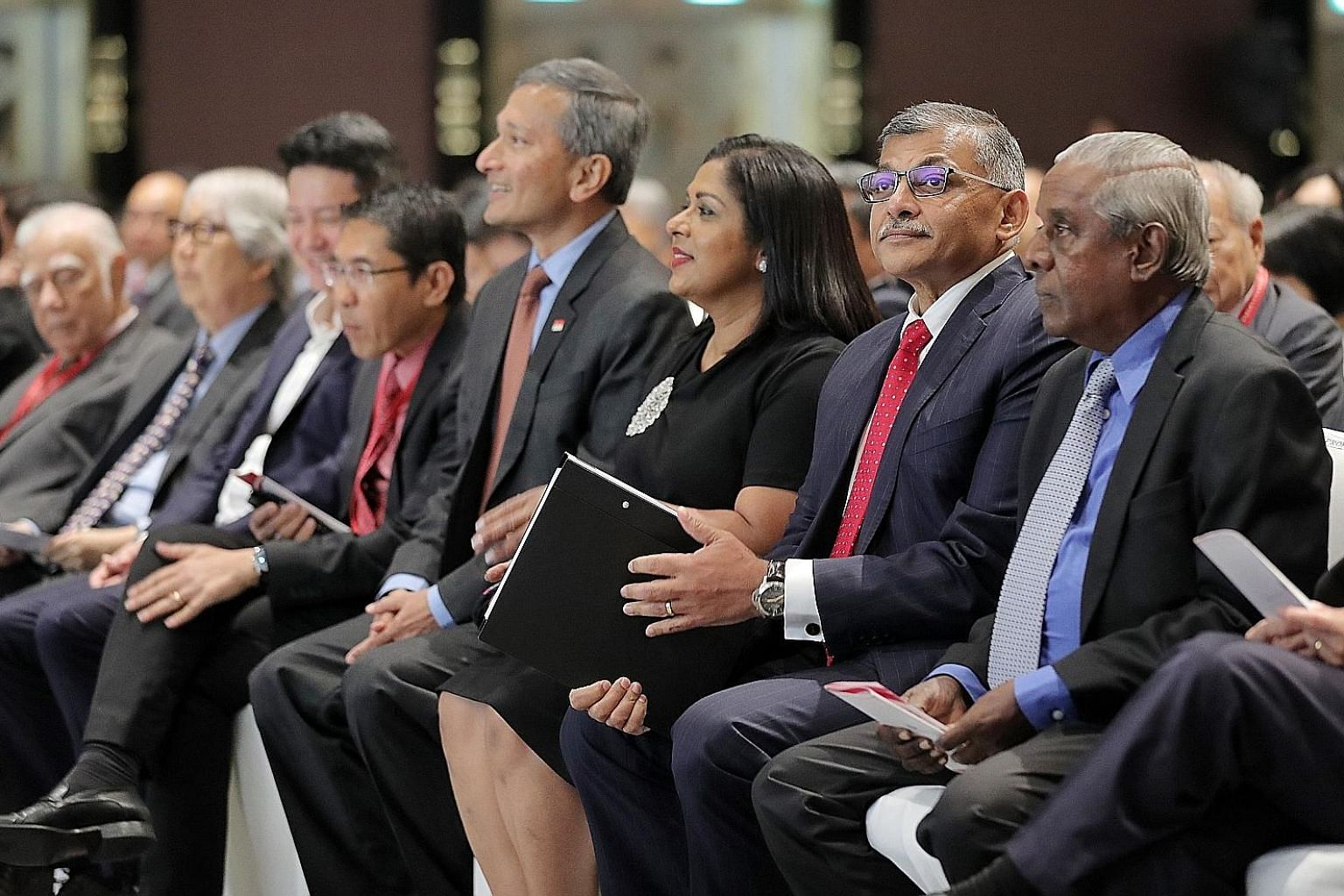 At the S. Rajaratnam Lecture yesterday were (from right) former deputy prime minister S. Jayakumar, Chief Justice Sundaresh Menon, Mrs Sundaresh Menon, Foreign Minister Vivian Balakrishnan, Senior Minister of State for Defence and Foreign Affairs Mal