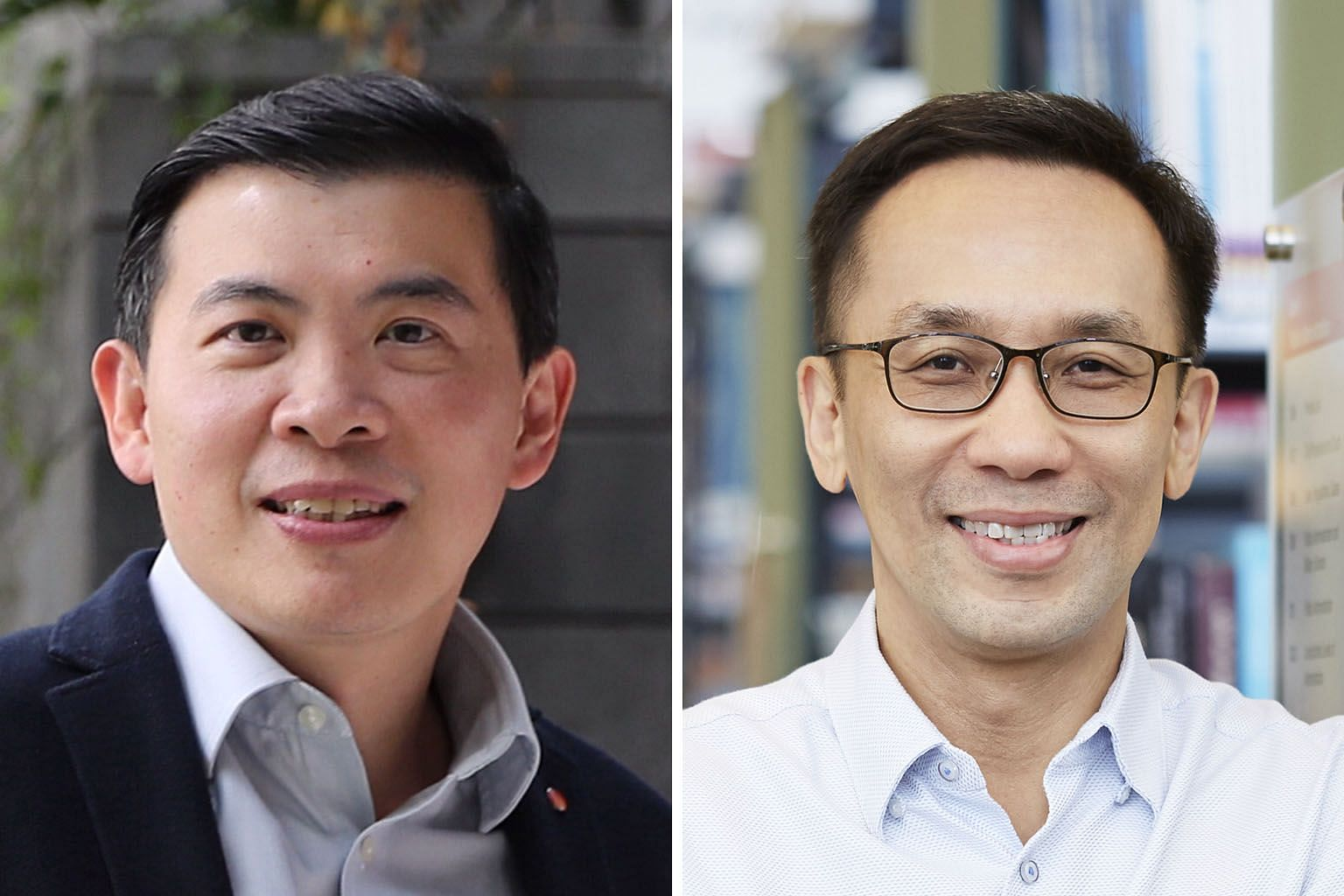 Changi Airport Group's current CEO Lee Seow Hiang (left) replaces Mr Chan Heng Kee as NLB chairman.