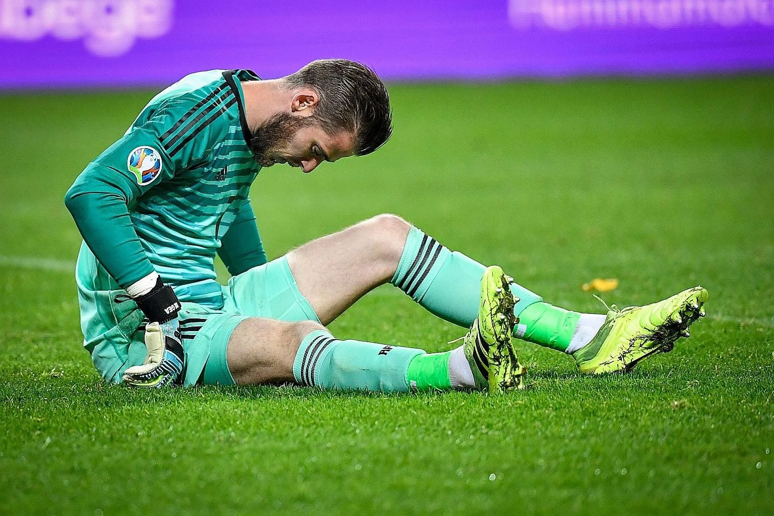 Spain goalkeeper David de Gea is injured during the 1-1 Euro 2020 qualifying draw with Sweden on Tuesday. The result meant that Spain have qualified. PHOTO: AGENCE FRANCE-PRESSE