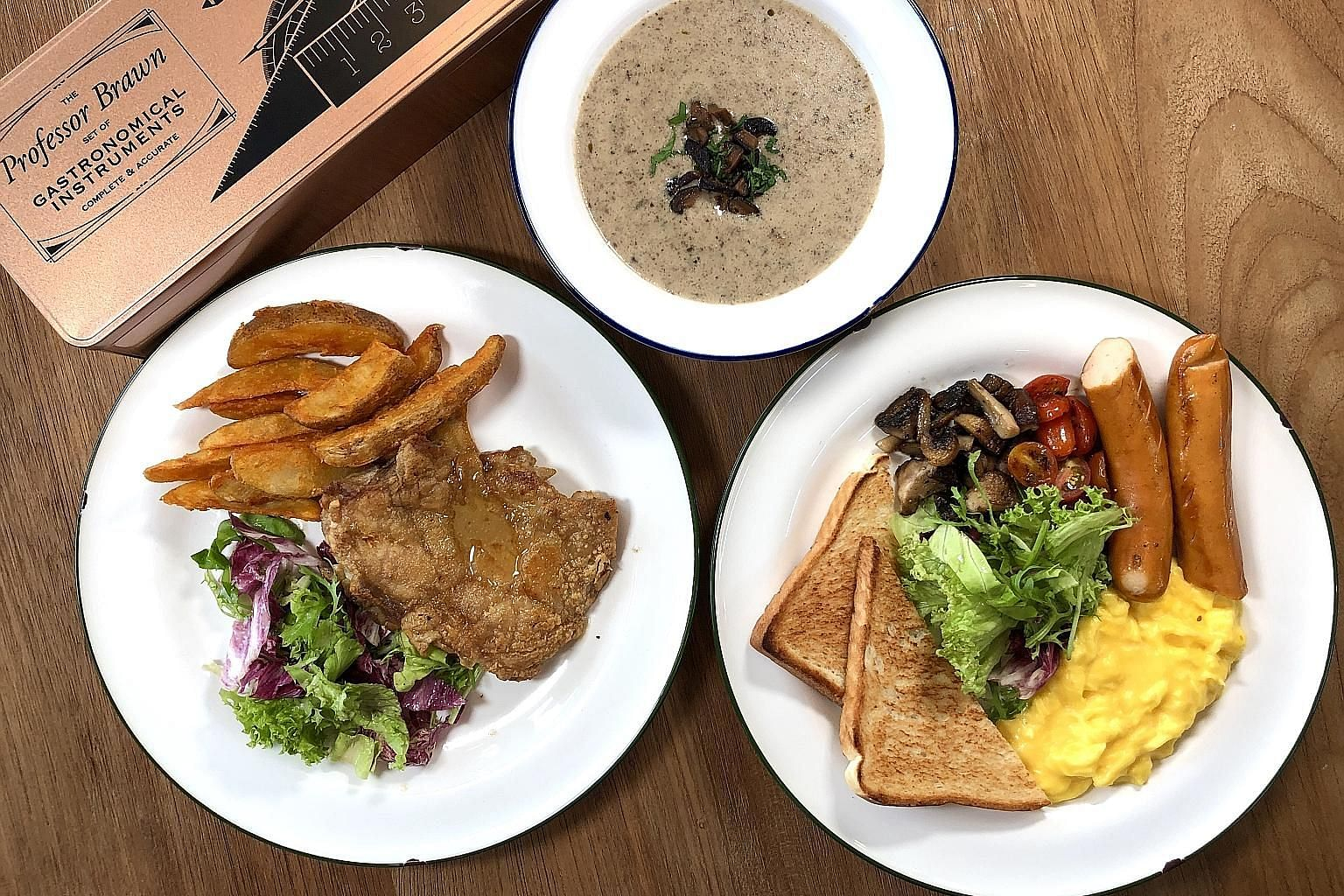 Above, clockwise from top: Cream Of Mushroom Soup, All-Day Breakfast Set and Grilled Chicken With Truffle Sauce.