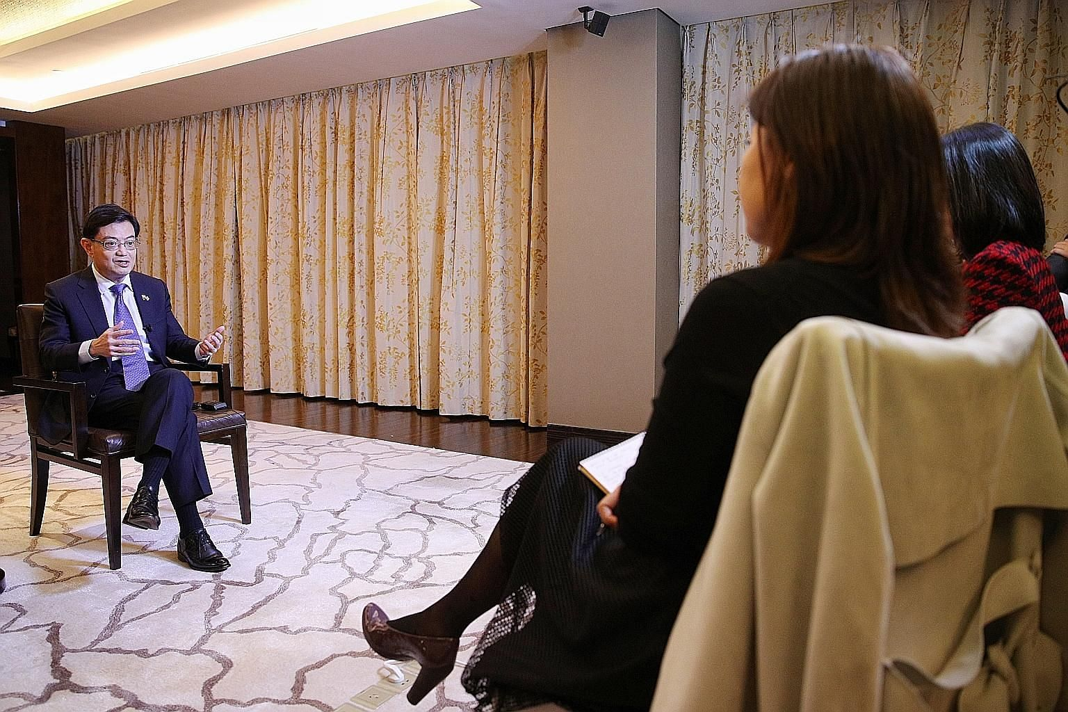 Deputy Prime Minister Heng Swee Keat, speaking to Singapore reporters during an interview in Beijing yesterday, said that the Republic must stay relevant and useful not just to China, but also to the world. PHOTO: MCI