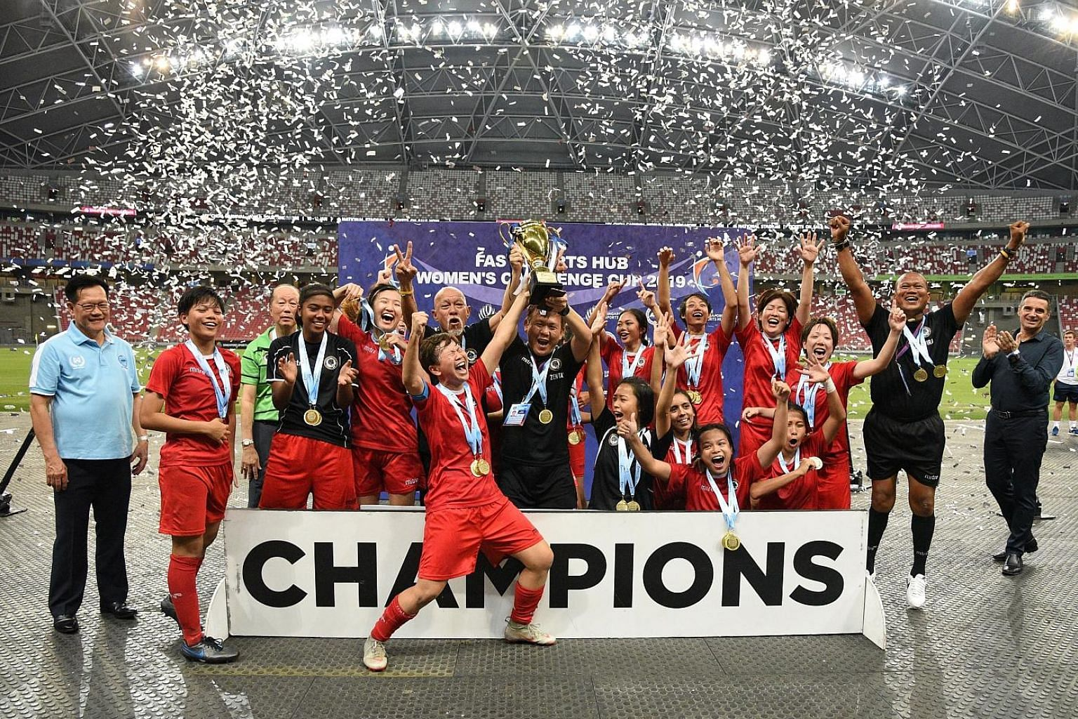 Tanjong Pagar are FAS Women's Challenge Cup winners for the first time since 2012. Yuki Monden (standing fourth from right), last night's goalscorer, was also in that team.