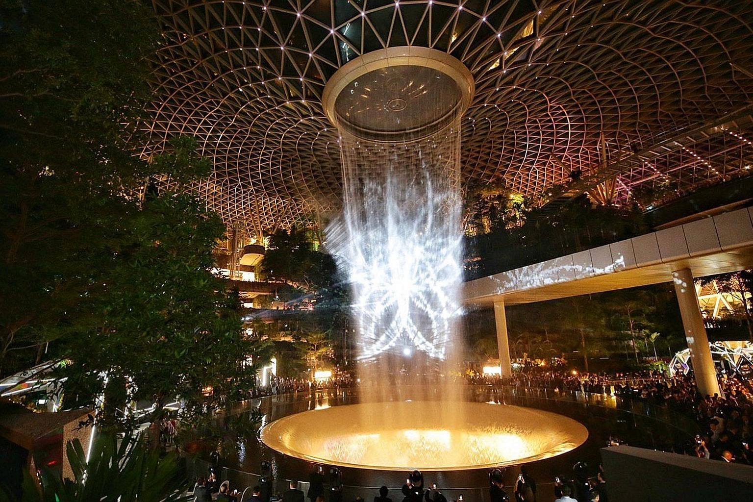 The new light and sound show at Jewel Changi Airport's 40m-high HSBC Rain Vortex is the third show at the indoor waterfall and is set to a new song, As I Believe, composed and sung by local Mandopop star JJ Lin. It made its debut around 7.30pm last n