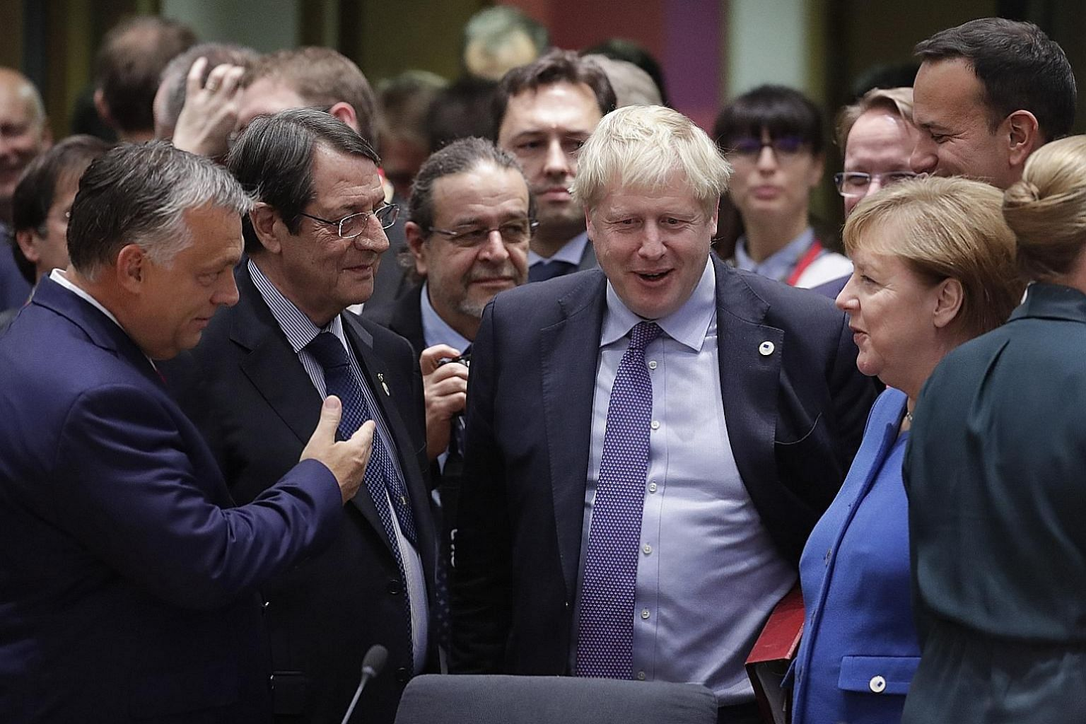 British Prime Minister Boris Johnson (centre), seen here with (from far left) Hungarian Prime Minister Viktor Orban, Cyprus President Nicos Anastasiades and German Chancellor Angela Merkel in Brussels on Thursday, predicts that his latest Brexit deal