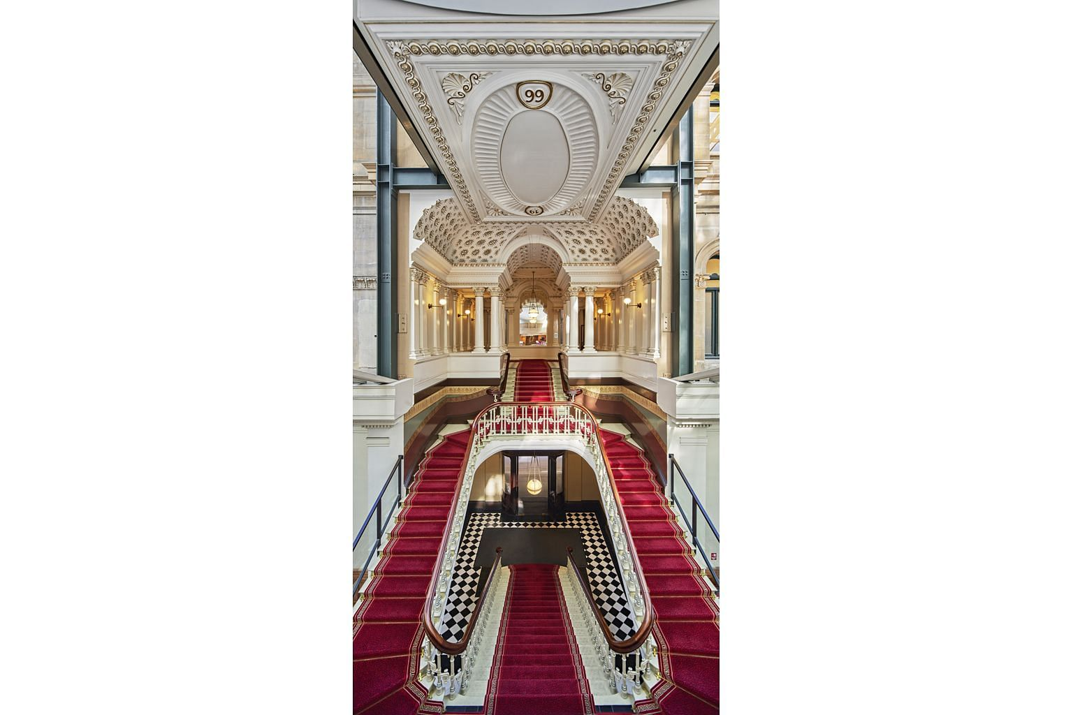 Sleek designs and luxurious suites are part of The Fullerton Hotel Sydney, which also has a grand staircase (above).