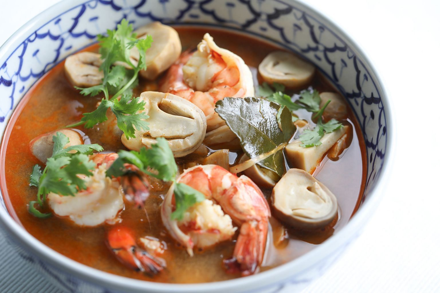 Fresh straw mushrooms are perfect in tom yum, soaking up the hot, sour, spicy and sweet broth.