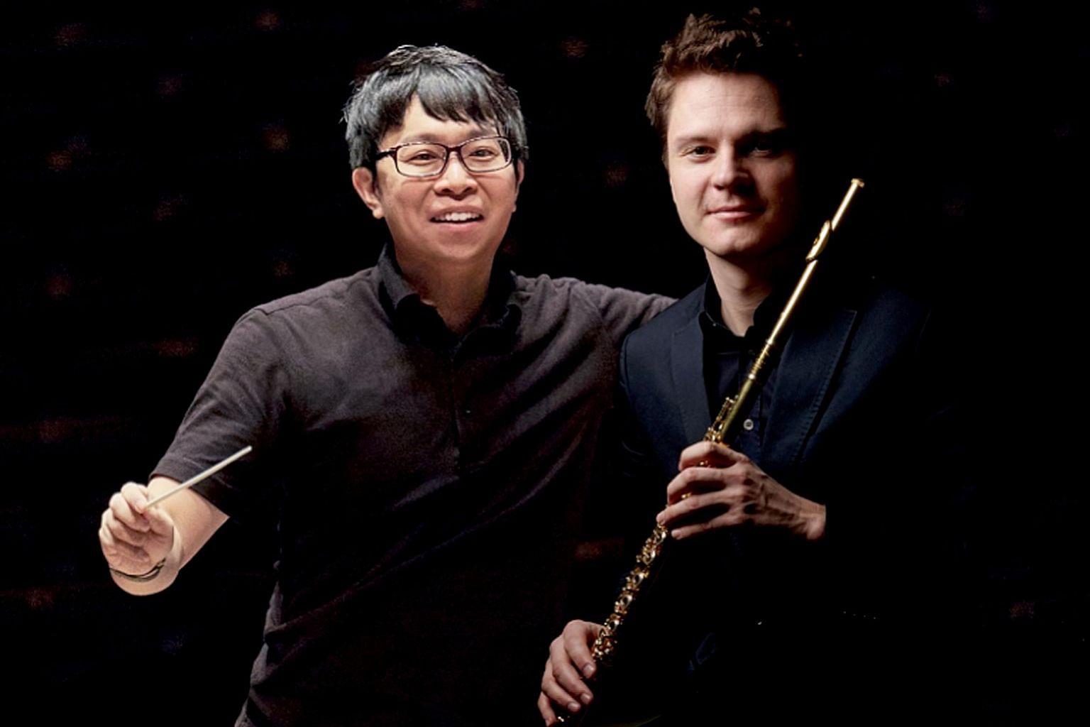 Conductor Wong Kah Chun and flautist Karl-Heinz Schutz.