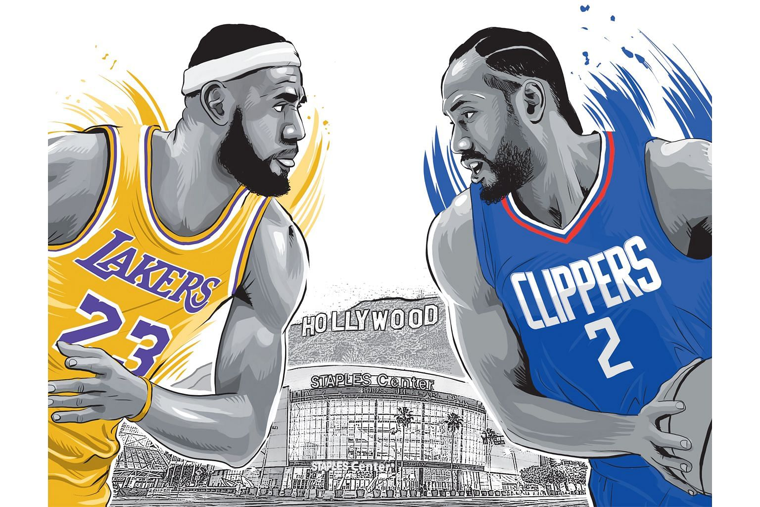 LeBron James and Kawhi Leonard will come face to face in tomorrow's National Basketball Association opening clash between LA Lakers and LA Clippers at the Staples Center in Los Angeles.