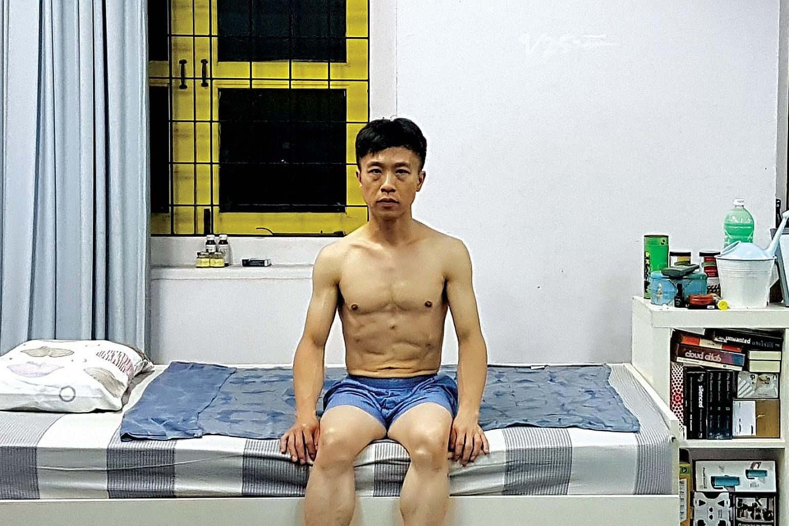 Playwright, director and actor Oliver Chong in a rehearsal (above) for his upcoming production, A Fiend's Diary (left).