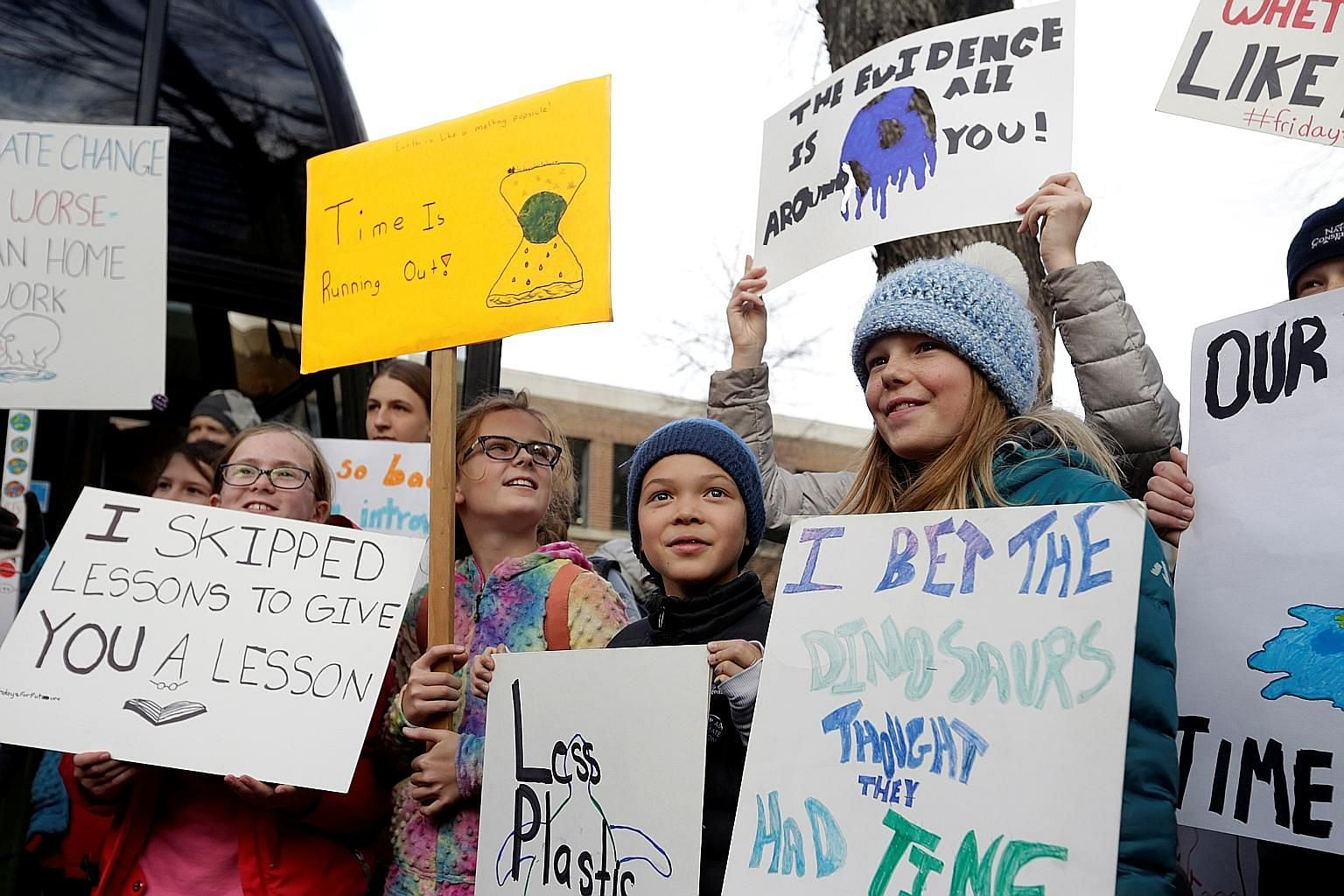 Young participants of a climate strike in Edmonton, in Canada's Alberta province, last Friday. The rally was one of many youth protests that have taken place worldwide.