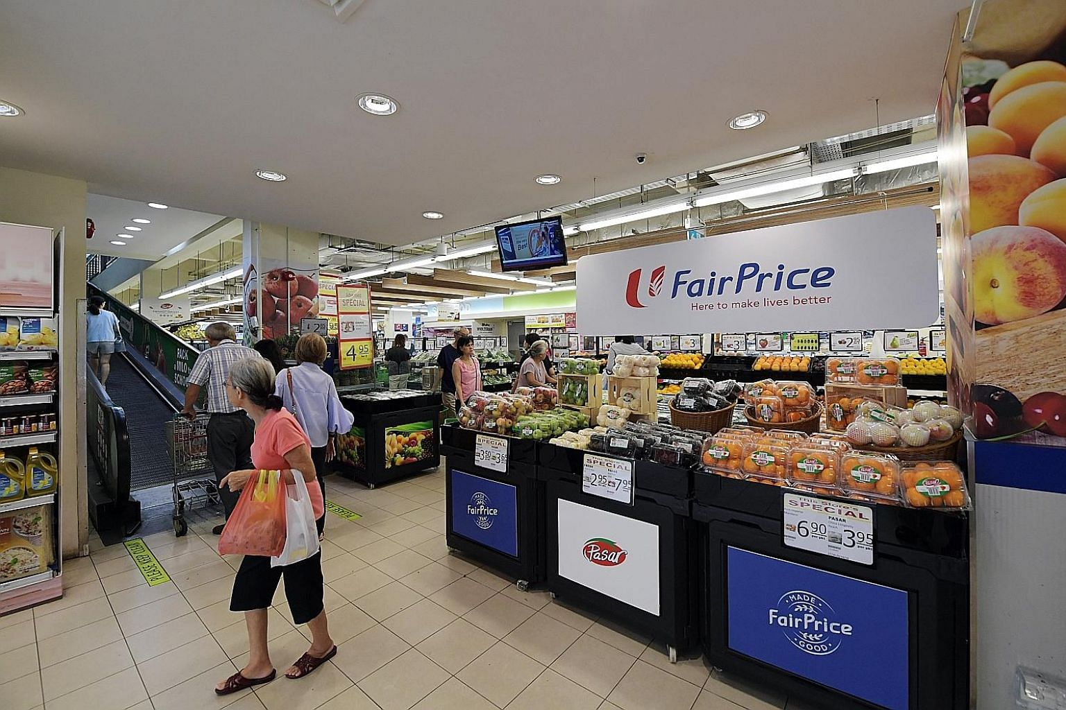 "The FairPrice outlet in Bedok North Street 1. One area FairPrice Group is looking at is lowering costs through bulk procurement. Kopitiam and Foodfare could procure ingredients through FairPrice, ""thereby lowering the cost and ensuring we are able to"