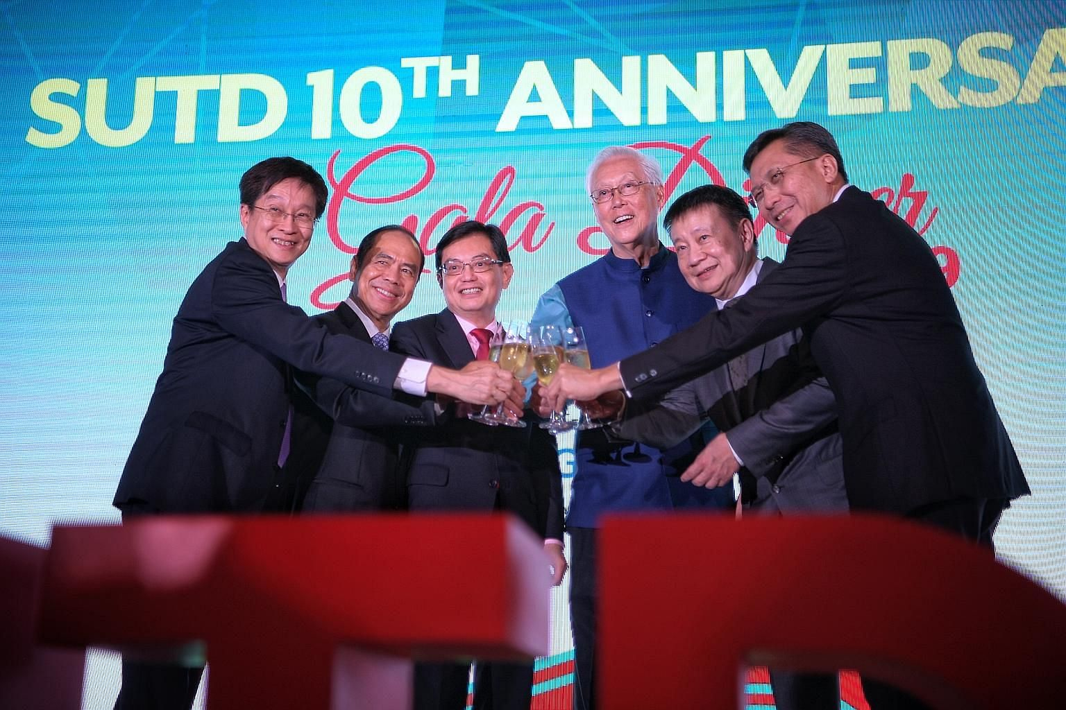 (From left) Singapore University of Technology and Design (SUTD) president Chong Tow Chong, SUTD patron for advancement Sam Goi, Deputy Prime Minister Heng Swee Keat, Emeritus Senior Minister Goh Chok Tong, SUTD chairman of the board of trustees Lee