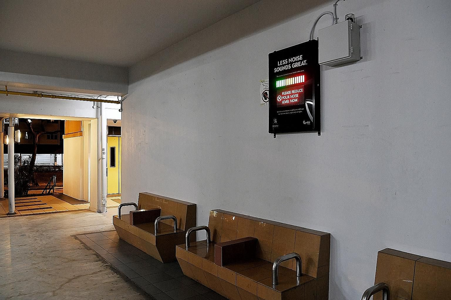 A monitor to track noise levels installed at a void deck in Ang Mo Kio by the Municipal Services Office and Singapore Kindness Movement as part of a pilot project to deter noise pollution in community spaces. ST PHOTO: KHALID BABA