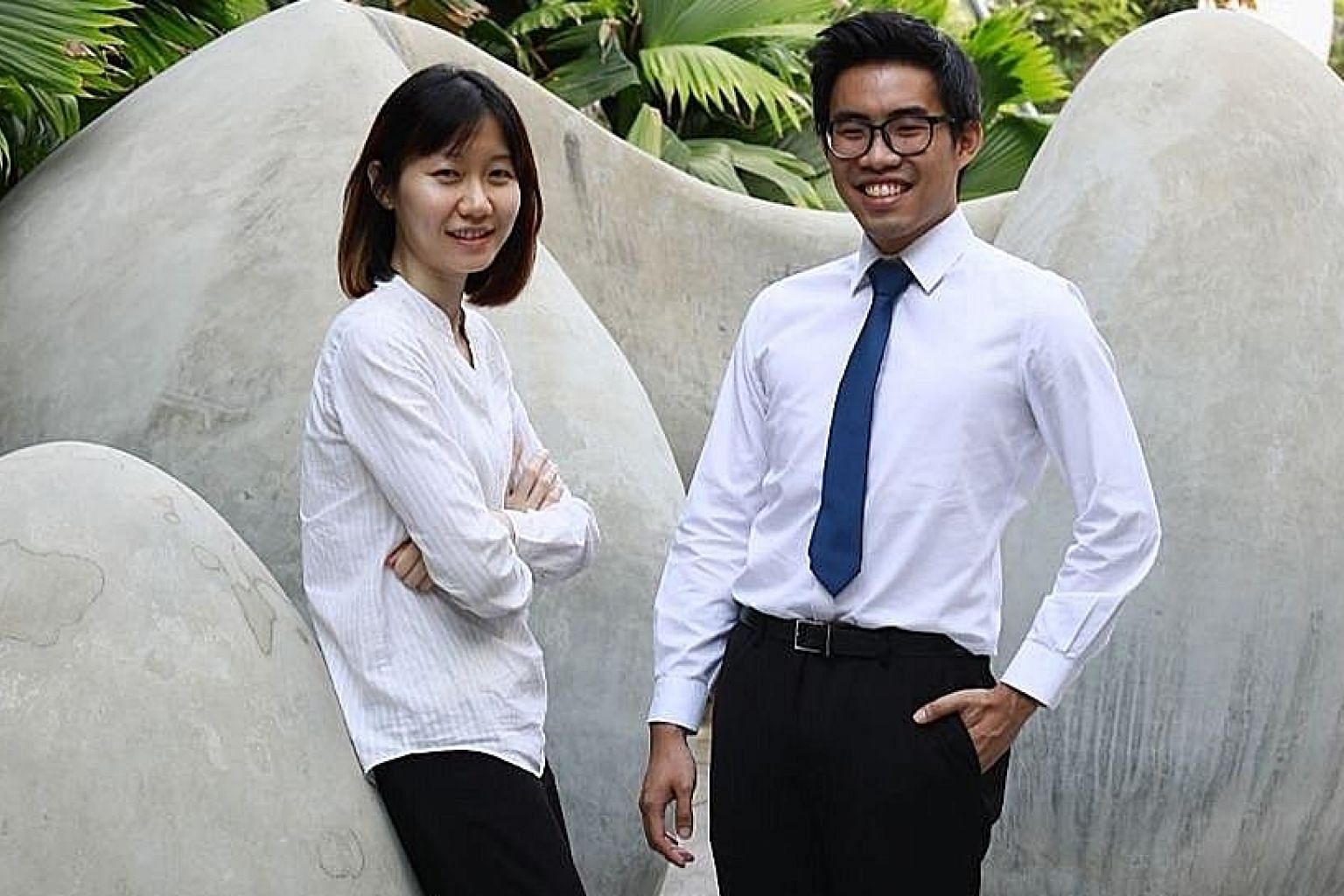 Mr Benjamin Chong received the BCA-Woha iBuildSG Undergraduate Scholarship yesterday, while Ms Ong Yan Xiang was one of four people given the iBuildSG Young Leaders' Advocate award.