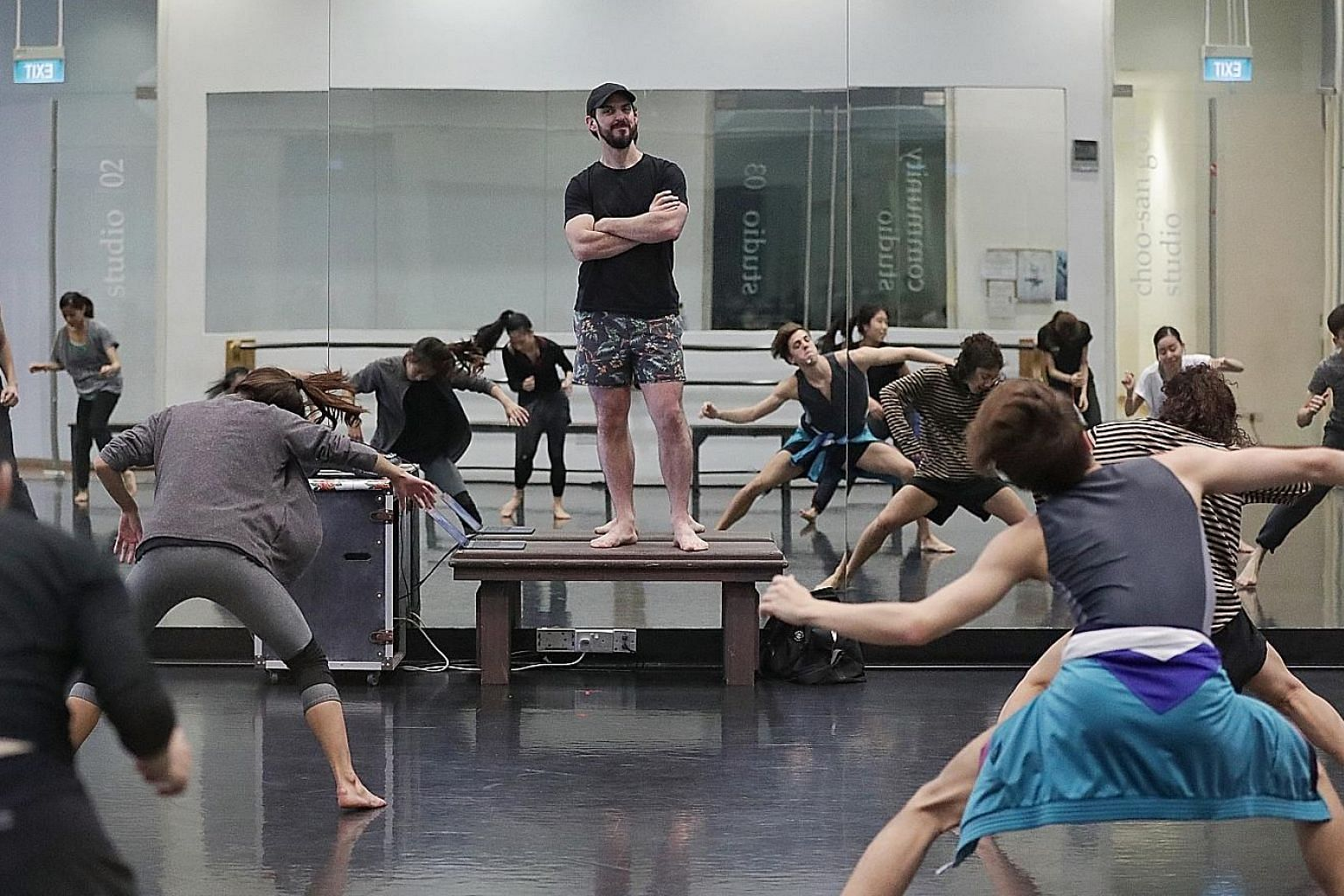 Australian choreographer Lucas Jervies (centre) at a studio rehearsal for Family Reunion at the Singapore Dance Theatre.