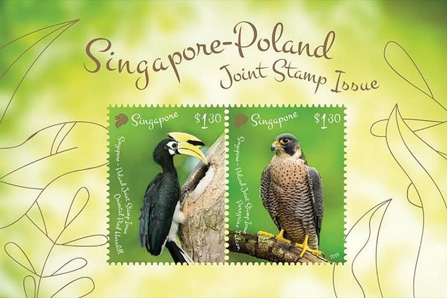 To symbolise the two countries' shared values and close friendship, the joint stamp issue features two birds, one native to each country. PHOTO: SINGPOST