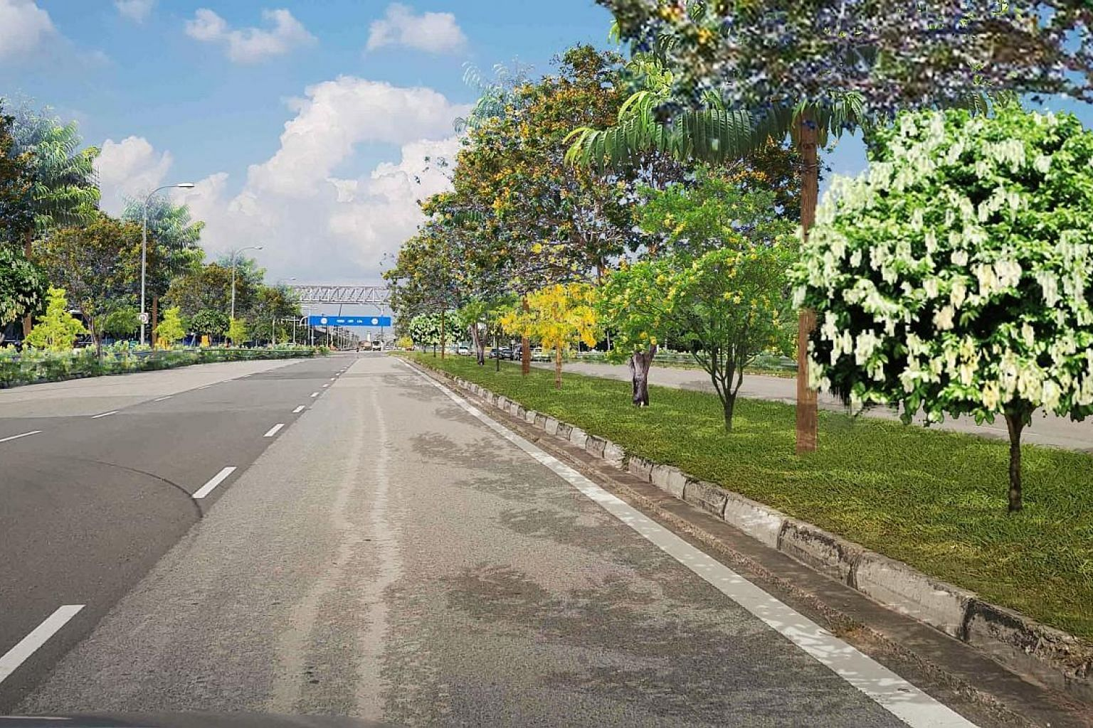 Above: An artist's impression of trees lining Banyan Avenue on Jurong Island, under a greening initiative to plant 30,000 trees on the island. Left: The existing road. PHOTOS: JTC, NPARKS