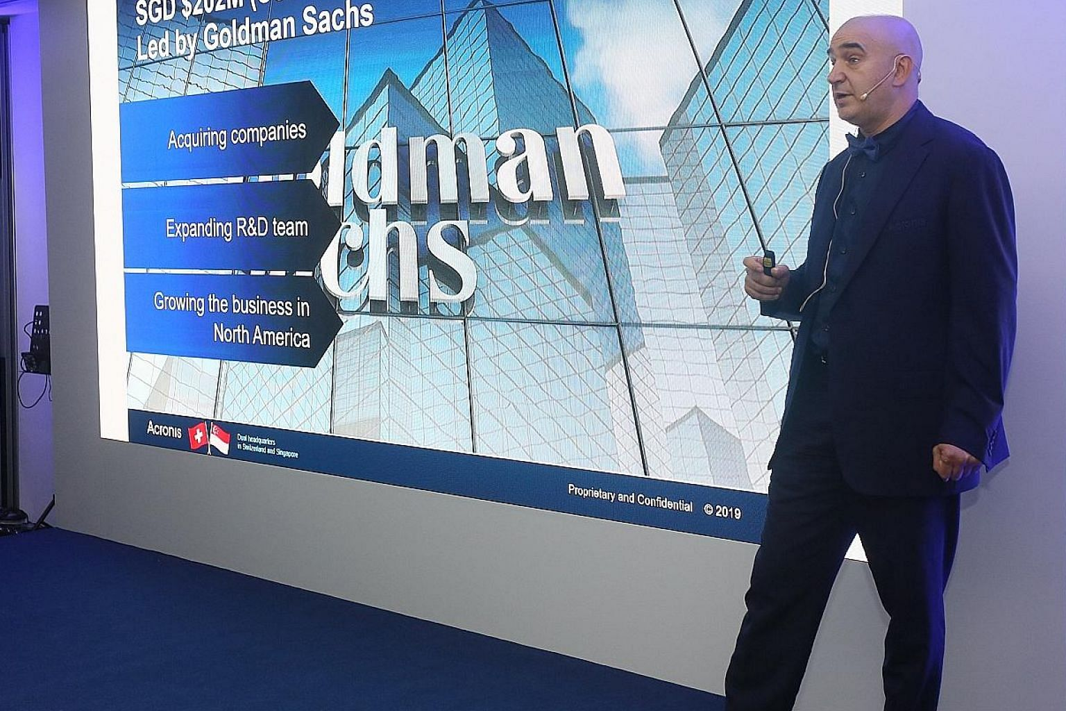 Acronis chief executive Serguei Beloussov says that as the firm has a base in Singapore, it is in a good position to seize the global cyber-security market. Finding talent, however, is a challenge worldwide, he says.