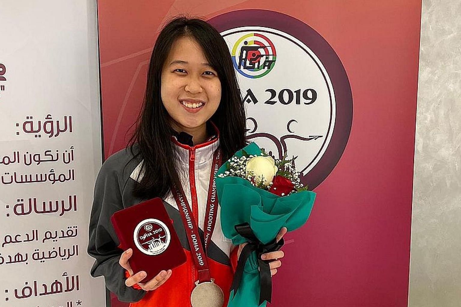 Tessa Neo finished second in the women's 10m air rifle yesterday at the Asian Shooting Championship.