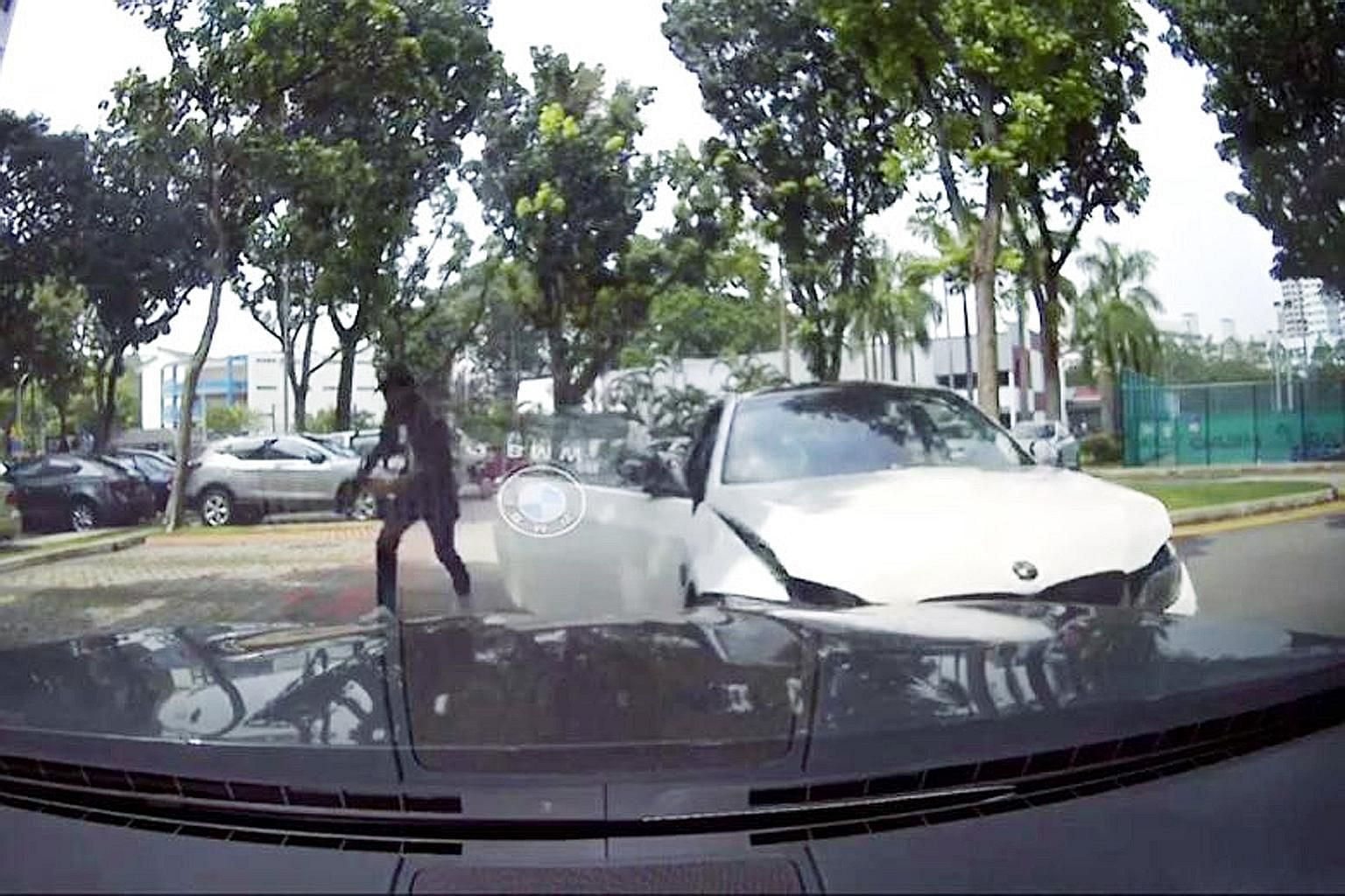 The suspect fleeing his car before it hit a black parked car. Preliminary investigations revealed that the man's car first hit a taxi in Geylang Bahru Road before this accident. He was arrested last Friday, and substances suspected to be controlled d