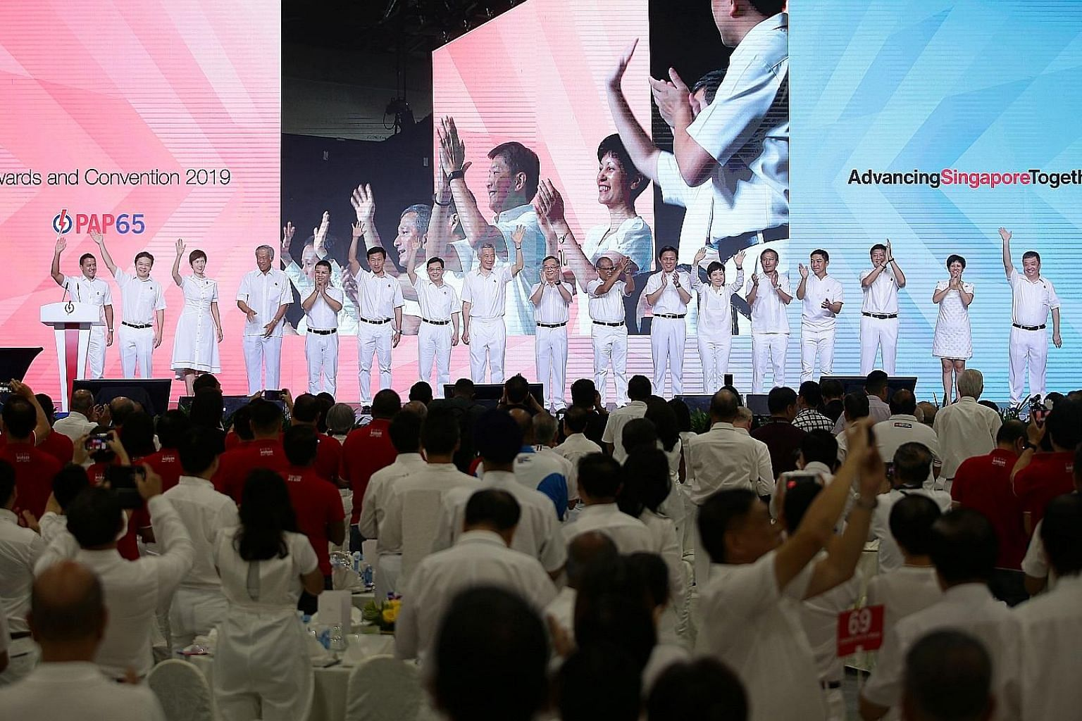 Members of the PAP's central executive committee at the convention yesterday: (from left) Holland-Bukit Timah GRC MP Christopher de Souza; National Development Minister Lawrence Wong; Manpower Minister Josephine Teo; Defence Minister Ng Eng Hen; Soci