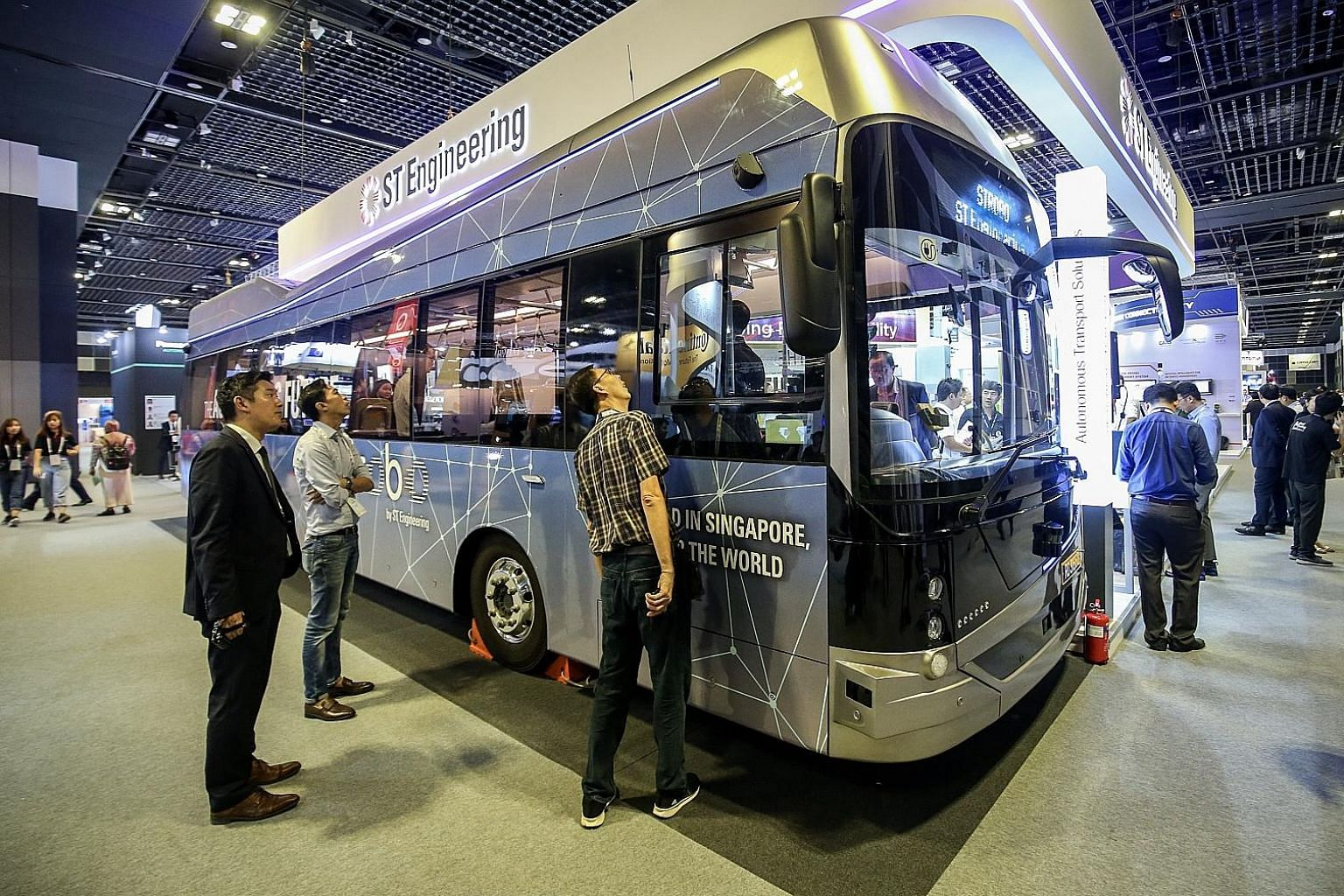An ST Engineering Strobo autonomous bus that was launched last month at the Autonomous Mobility Summit, held in Singapore as part of the Intelligent Transport Systems World Congress. ST Engineering reported higher revenue for all sectors, and rises i