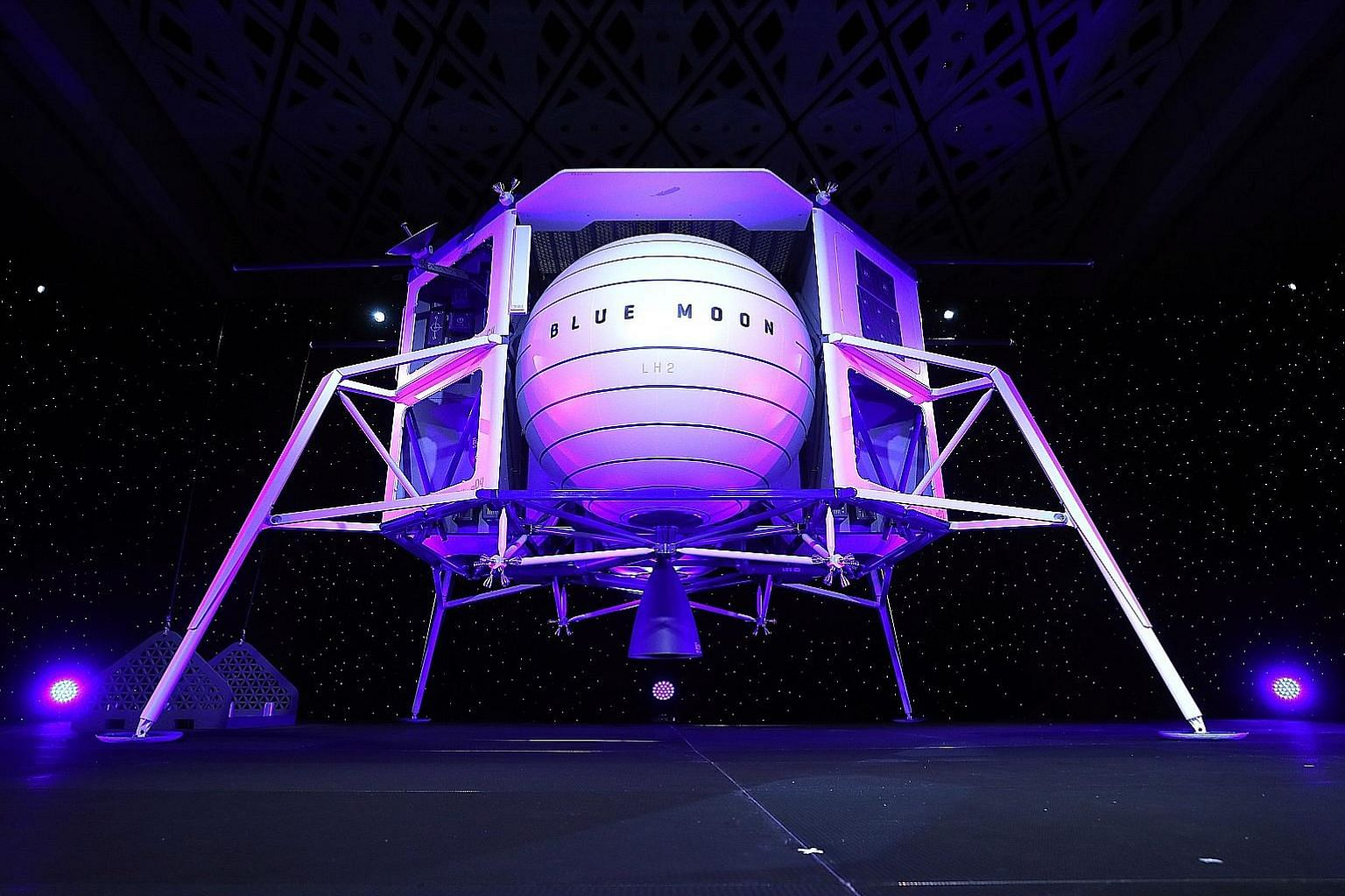 A new lunar landing module called Blue Moon being unveiled at the Washington Convention Centre in May. Mr Jeff Bezos, owner of Blue Origin, said the module will be used to land humans on the Moon. Nasa rolling back the Artemis launch tower from Pad 3