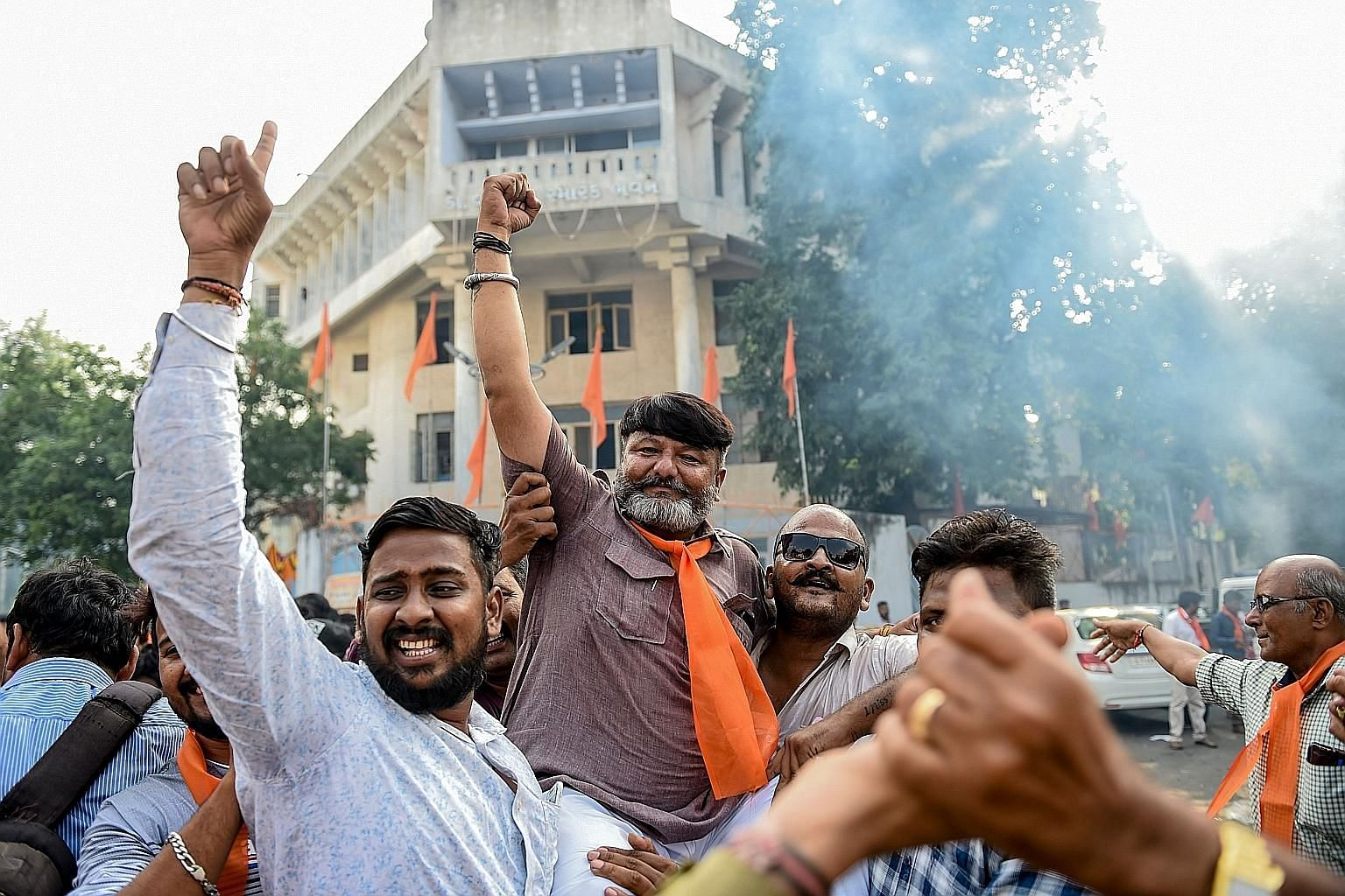 Indian Prime Minister Narendra Modi has fulfilled two out of three election pledges to his Hindu base, just a few months after his re-election. Supporters of a Hindu militant organisation celebrating after the Indian Supreme Court last Saturday award