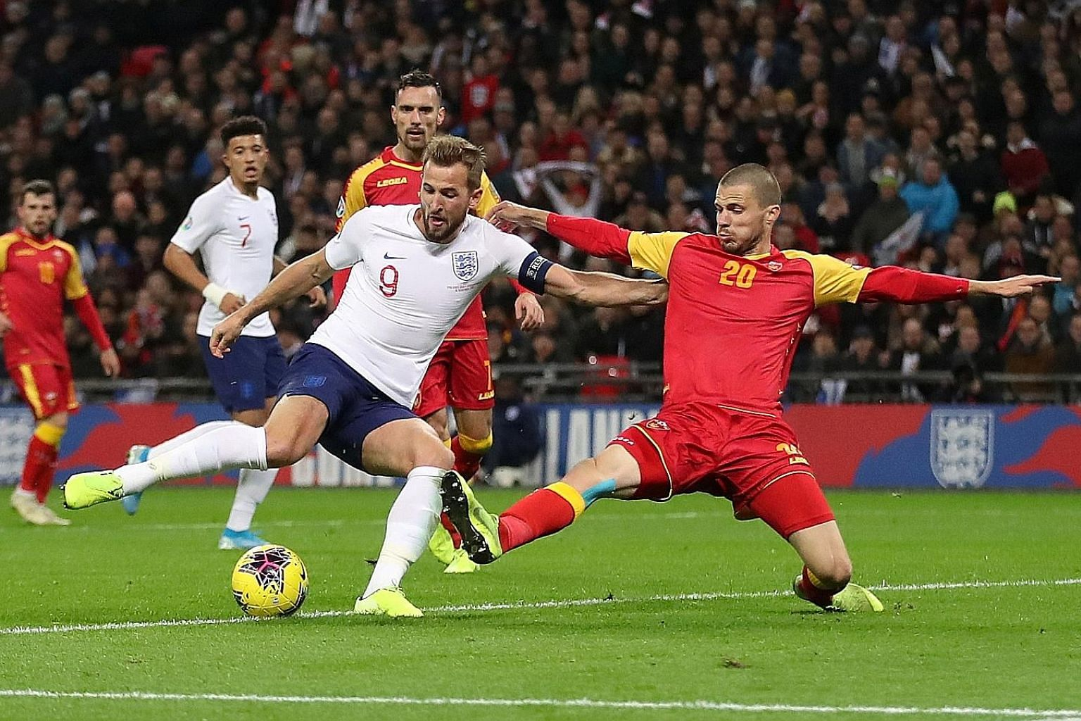 Harry Kane scoring England's fifth goal to complete his hat-trick against Montenegro in their World Cup qualifier at Wembley on Thursday. It was his 11th goal in seven Group A matches.