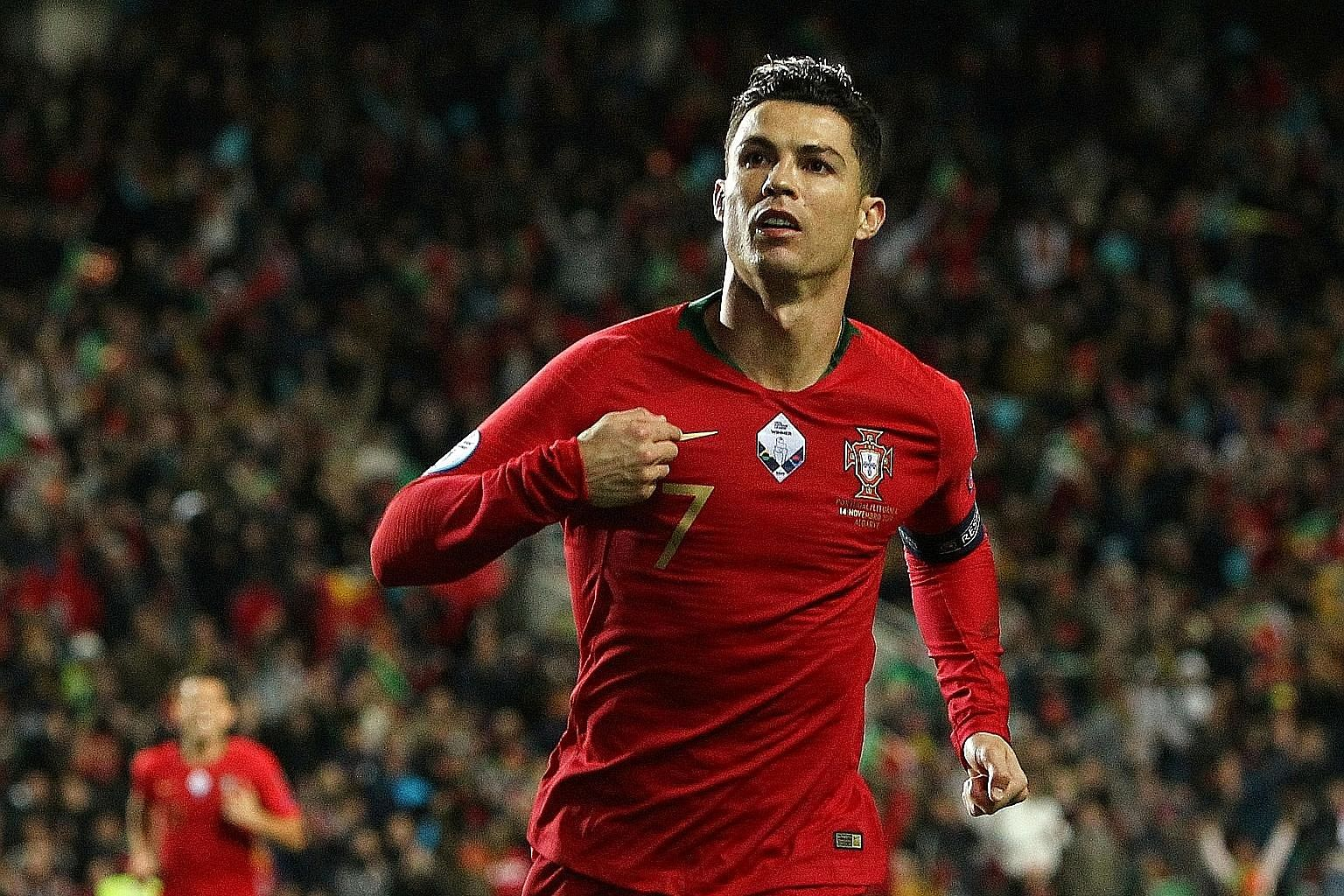 Cristiano Ronaldo's hat-trick against Lithuania was his ninth for Portugal and put him on 98 international goals.