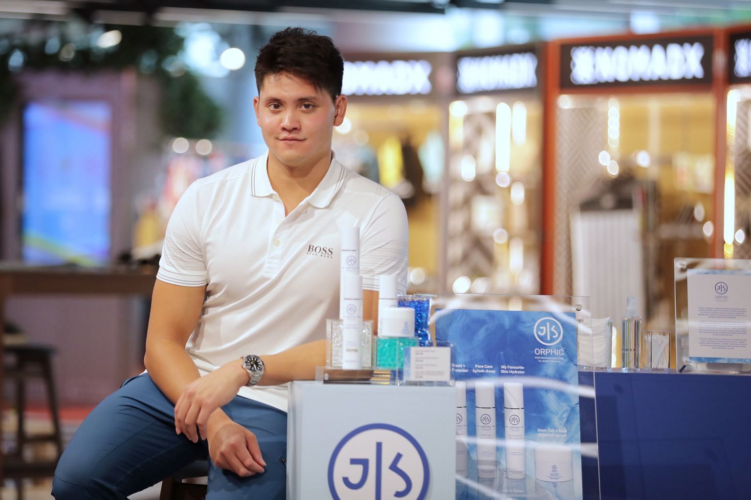 Joseph Schooling's favourite product from his skincare line is the stem cell and snail extract serum, which he uses to moisturise his face and back after every swimming practice.