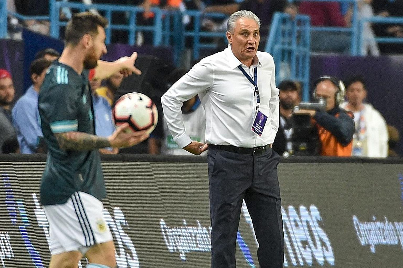 Argentina striker Lionel Messi and Brazil coach Tite exchanged words during a friendly match in Riyadh on Friday. Messi's goal in the 1-0 win extended Argentina's unbeaten run to six matches.