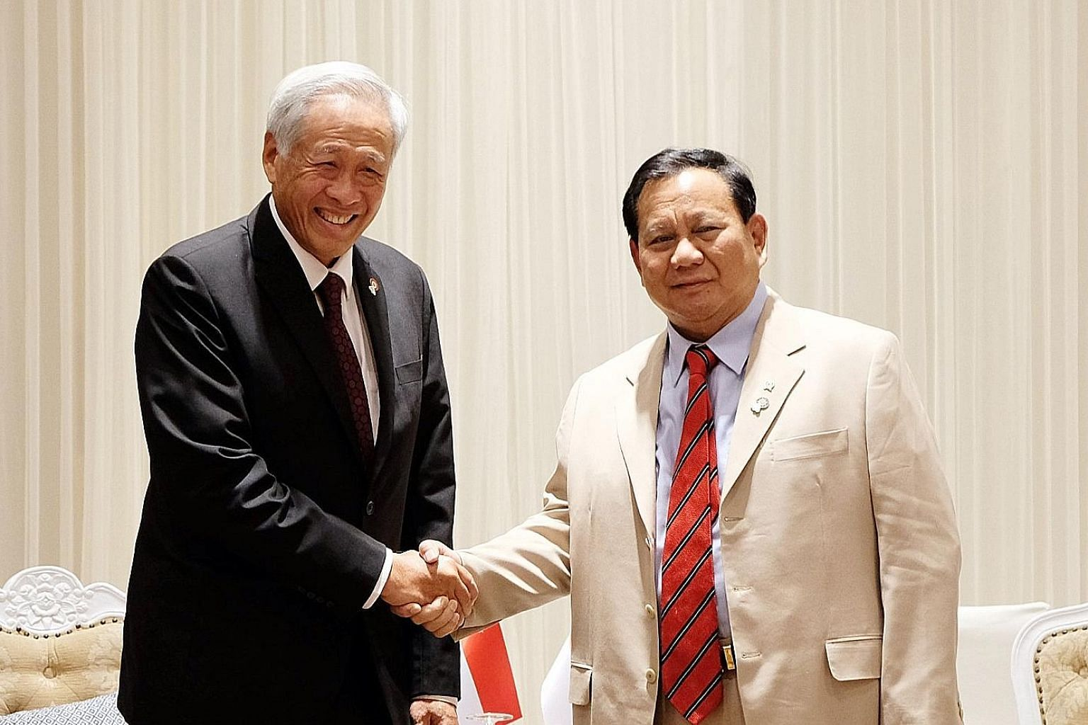 Defence Minister Ng Eng Hen meeting his Indonesian counterpart Prabowo Subianto on Sunday at the ADMM Retreat.