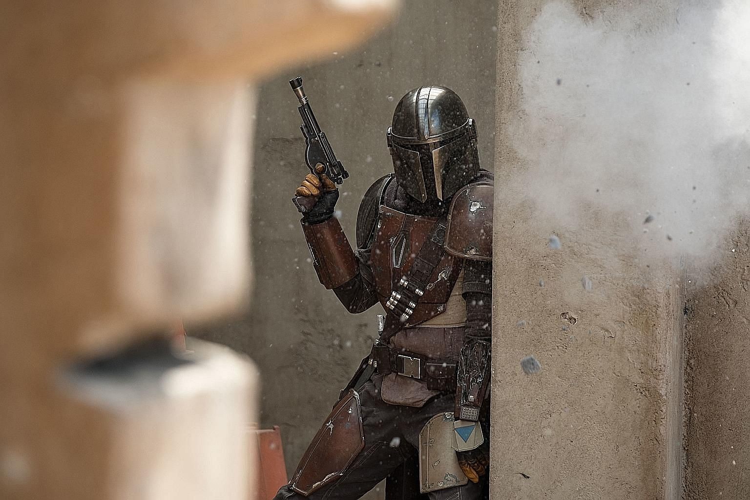 Actor Pedro Pascal plays the title character in Disney+'s new Star Wars TV show, The Mandalorian.