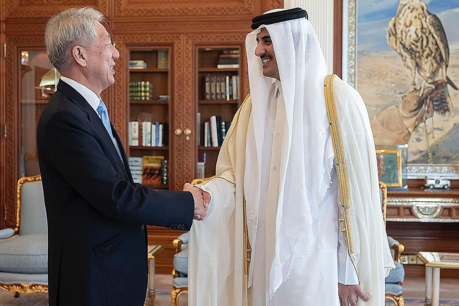 Senior Minister Teo Chee Hean calling on the Emir of Qatar, Sheikh Tamim bin Hamad Al Thani, on Monday. Mr Teo's visit to Qatar ended yesterday. PHOTO: STATE OF QATAR
