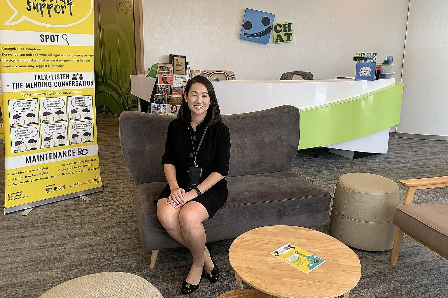 Dr Charmaine Tang, Chat's deputy programme director and a consultant at the Institute of Mental Health, at the youth outreach arm's centre at *Scape. Around 1,700 young people approached Chat - short for Community Health Assessment Team - for help la