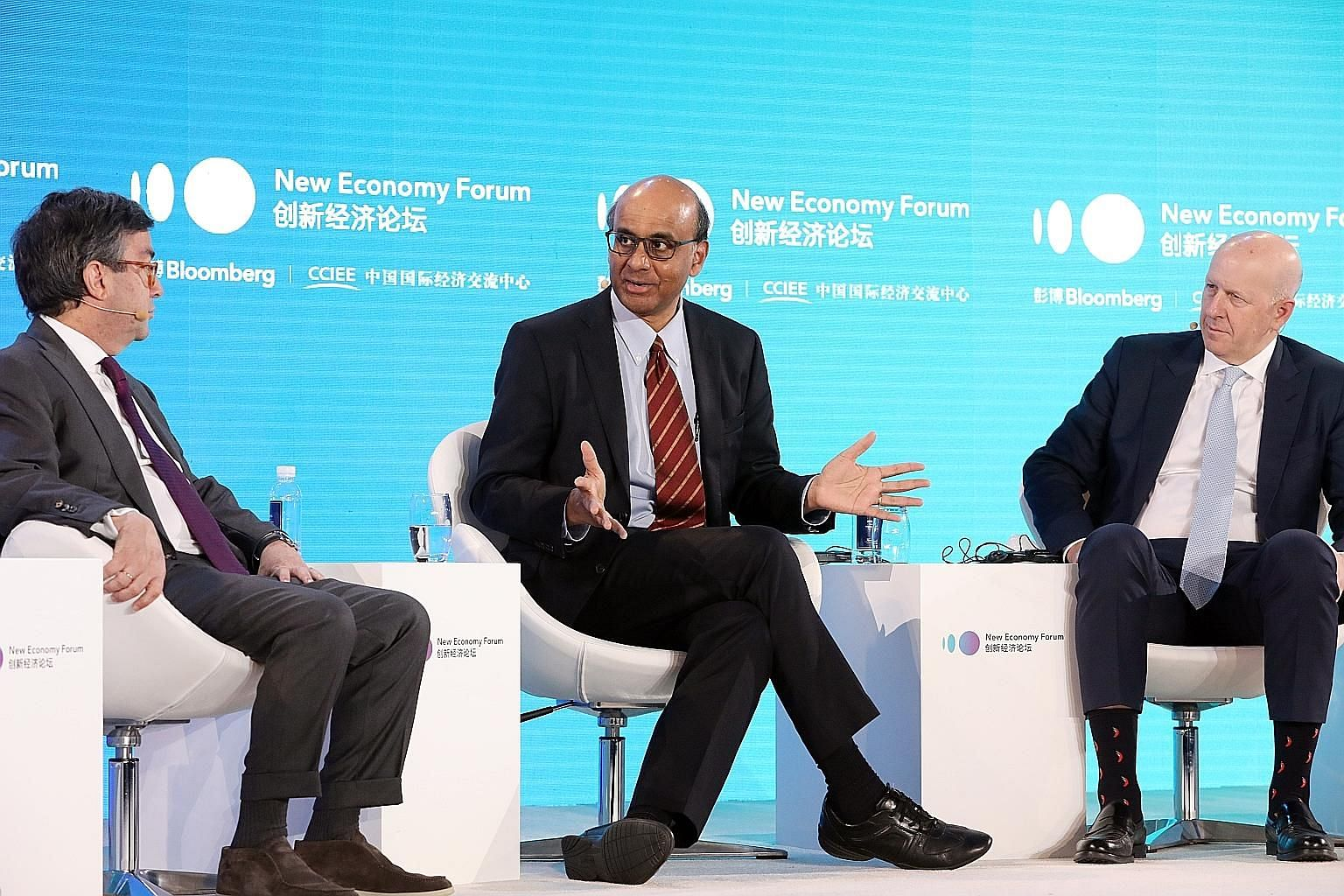 Senior Minister Tharman Shanmugaratnam speaking during a panel discussion on handling a future financial crisis, at the Bloomberg New Economy Forum in Beijing yesterday. Other panellists at the event included Inter-American Development Bank president