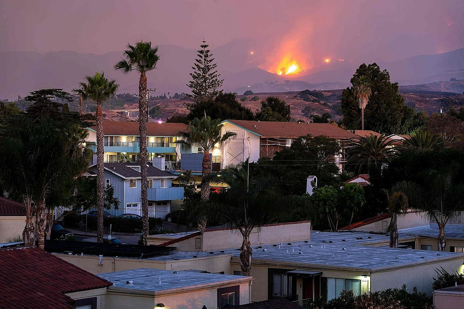 "The fire burning on a hillside above houses in Santa Barbara, California, on Tuesday. The ""Cave Fire"" that started on Monday in Los Padres National Forest grew to nearly 1,740ha overnight. The authorities said the fire, the cause of which was still u"