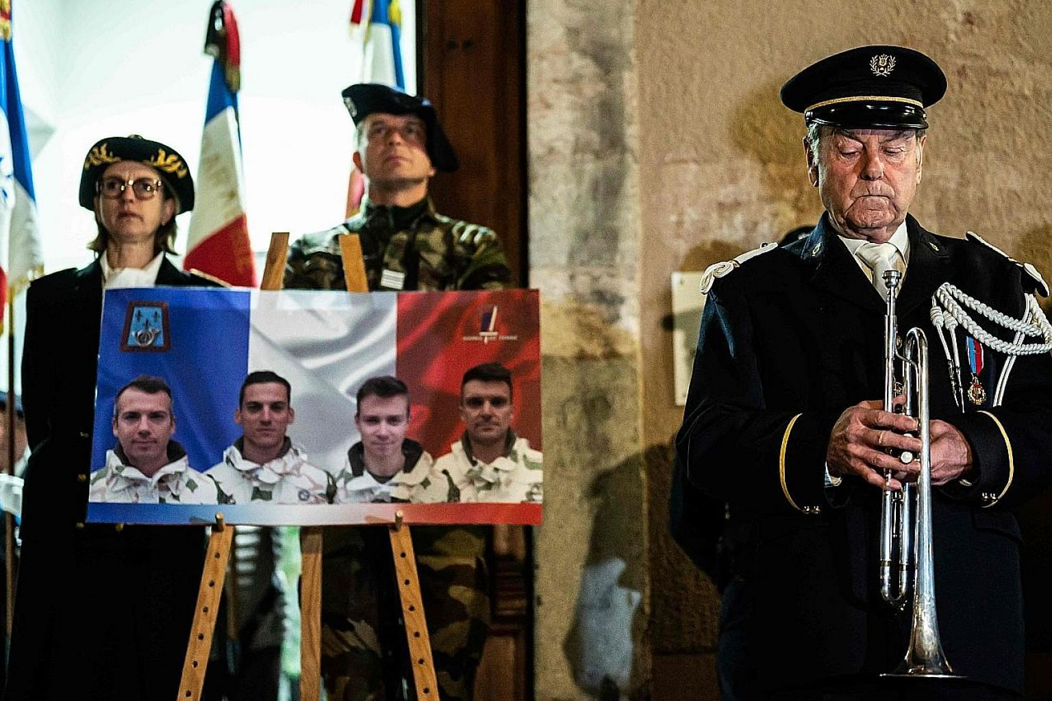 French soldiers in the south-eastern town of Gap paying tribute to their fallen comrades who died in Mali on Monday.