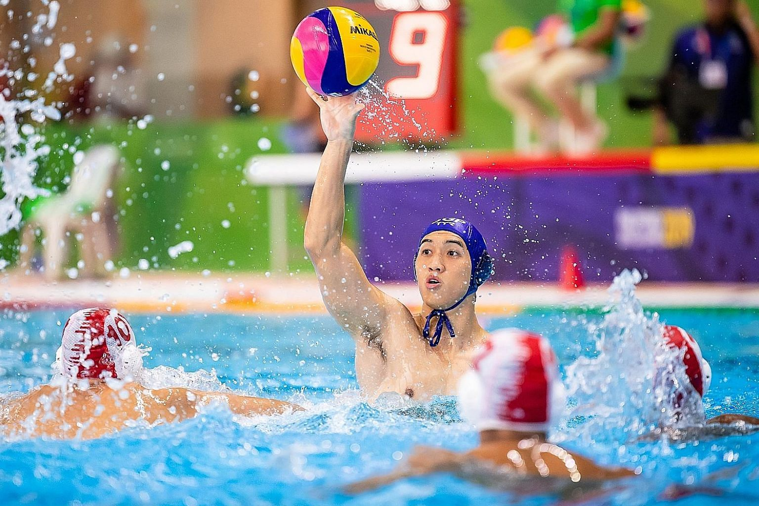 National water polo player Ang An Jun at the SEA Games men's water polo event at the New Clark City Aquatics Centre, Philippines, yesterday.