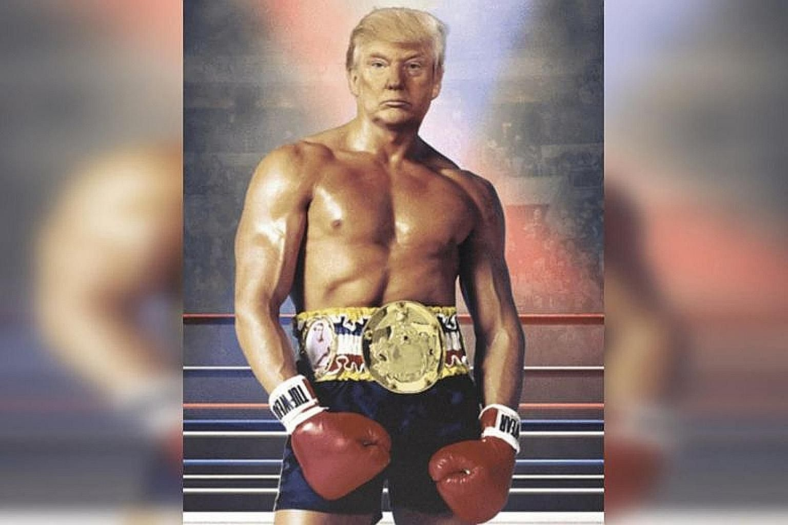 US President Donald Trump posted an image of his head superimposed on the muscular body of Rocky Balboa, a fictional boxer from the movie series Rocky, on Wednesday.