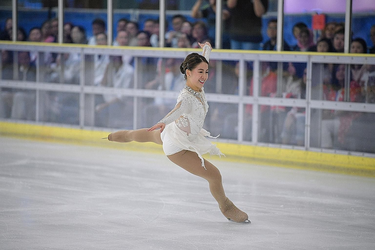 Figure skater Chloe Ing performing her free stake routine to a cover of Ave Maria yesterday. The 21-year-old's stirring display left the crowd in Manila's SM Megamall ice rink in awe.