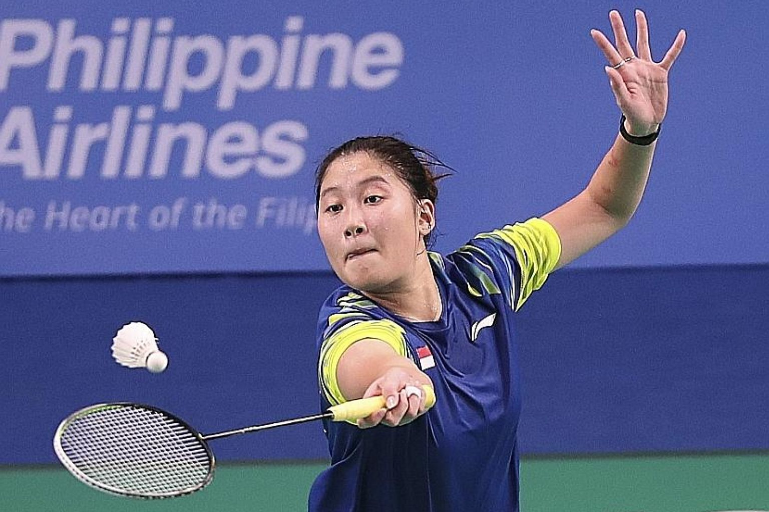 Jaslyn Hooi, 19, was the only Singaporean to score a point in the badminton semi-finals yesterday. The world No. 99 upset No. 27 Fitriani 13-21, 21-16, 21-16 in the 3-1 loss to Indonesia in the women's team event. PHOTO: SPORT SINGAPORE