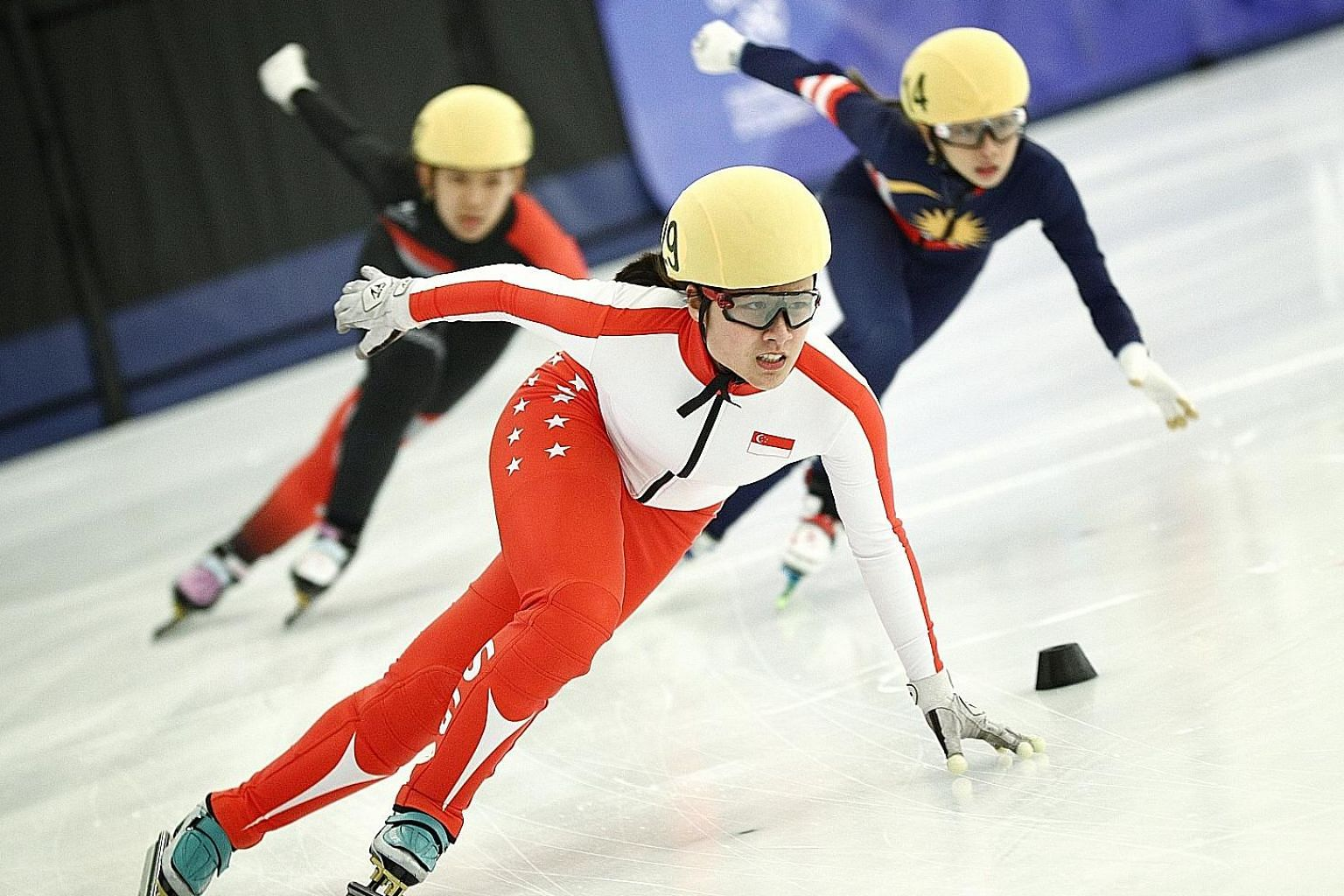Cheyenne Goh leading from start to finish to win the short-track speed skating 500m by over a second. PHOTO: LIANHE ZAOBAO