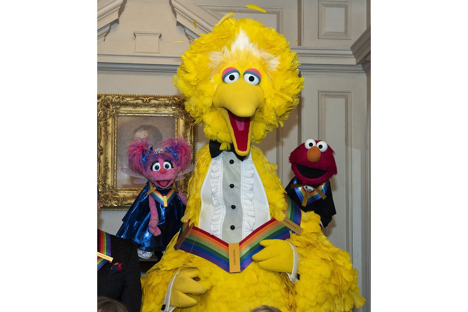 Sesame Street characters (from left) Abby Cadabby, Big Bird and Elmo following the Kennedy Centre Honours State Department dinner.