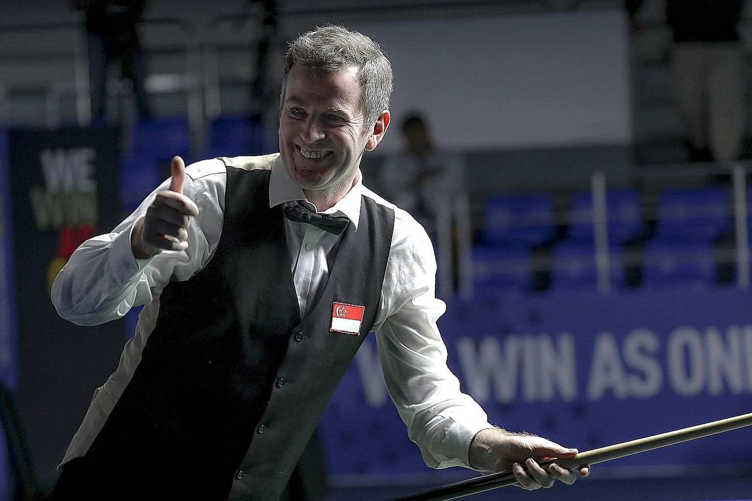 Singapore's Peter Gilchrist eased past Nay Thway Oo of Myanmar 3-0 in the English billiards singles final. PHOTO: SPORT SINGAPORE